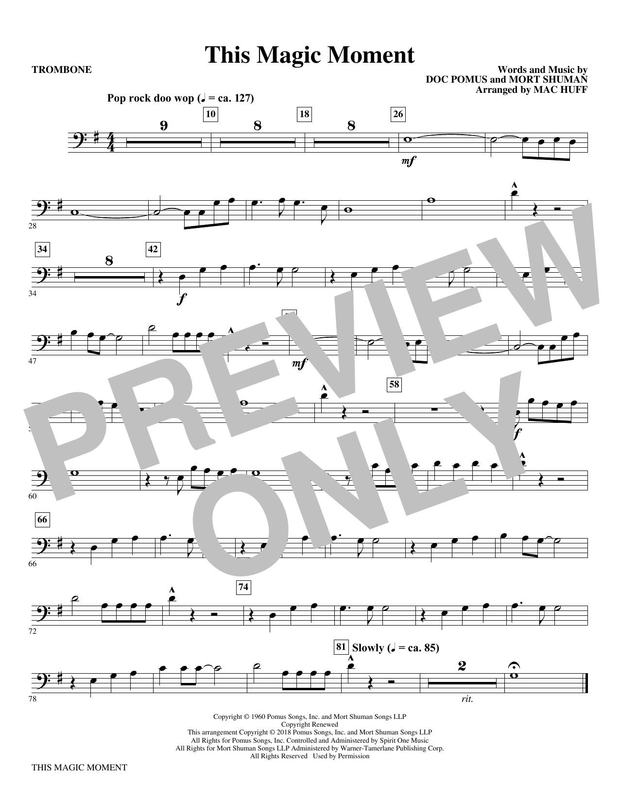 This Magic Moment  (Arr. Mac Huff) - Trombone (Choir Instrumental Pak)