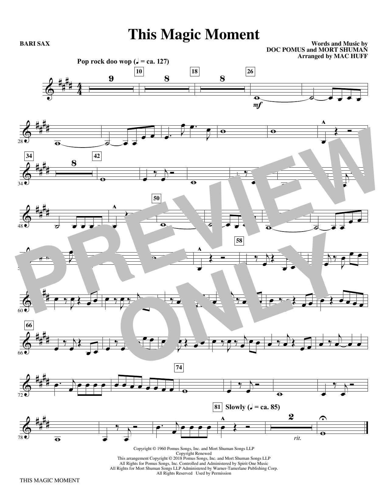 This Magic Moment  (Arr. Mac Huff) - Baritone Sax (Choir Instrumental Pak)
