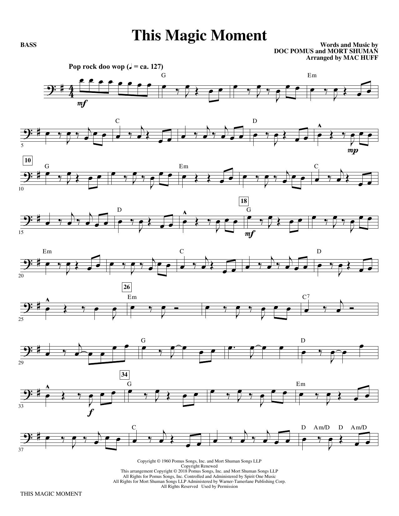 This Magic Moment  (Arr. Mac Huff) - Bass (Choir Instrumental Pak)
