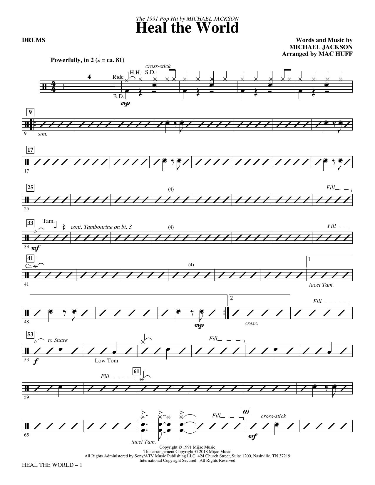 Heal the World (Arr. Mac Huff) - Drums (Choir Instrumental Pak)