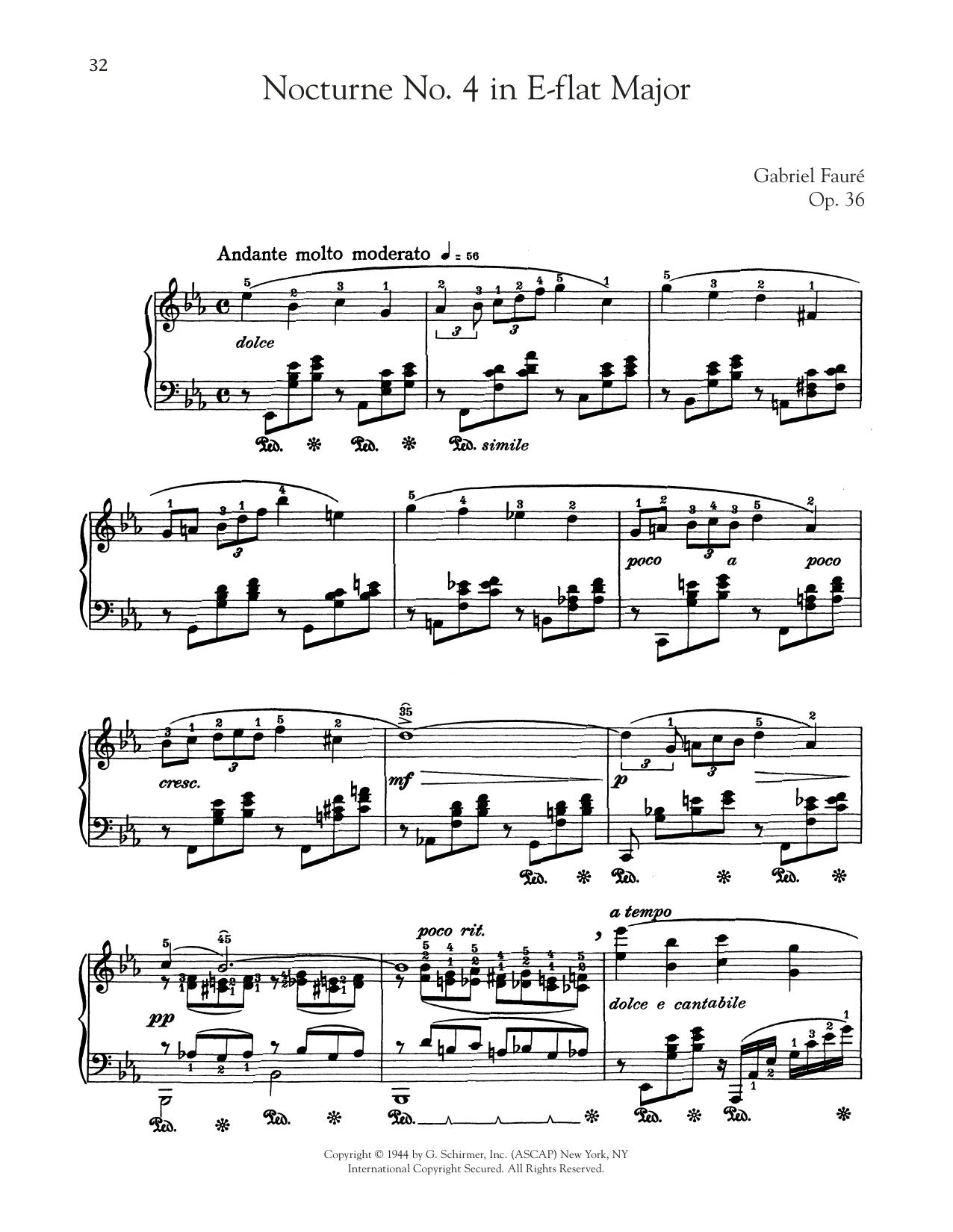 Nocturne In E-Flat Major, Op. 36, No. 4 (Piano Solo)