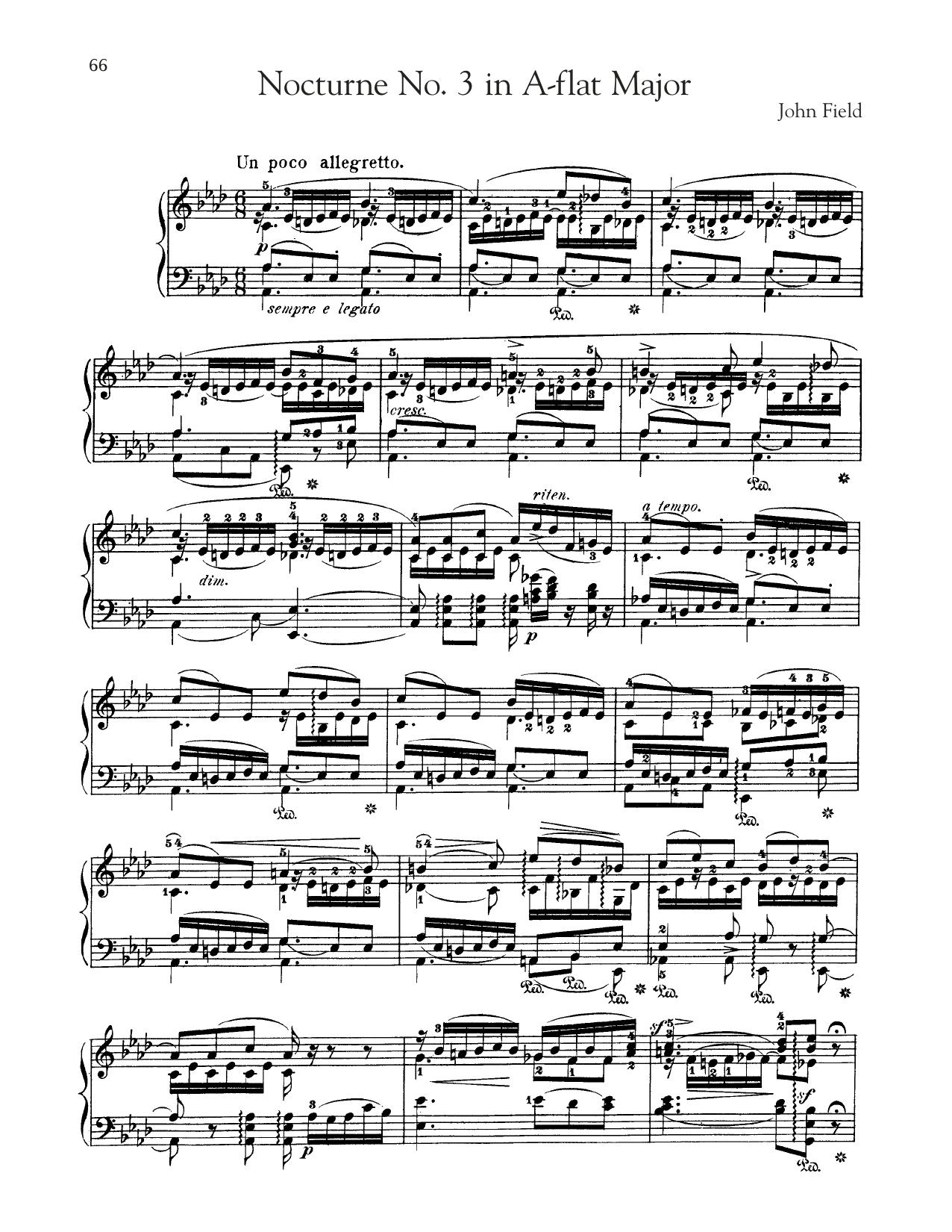 Nocturne No. 3 In A-Flat Major, H. 26 (Piano Solo)
