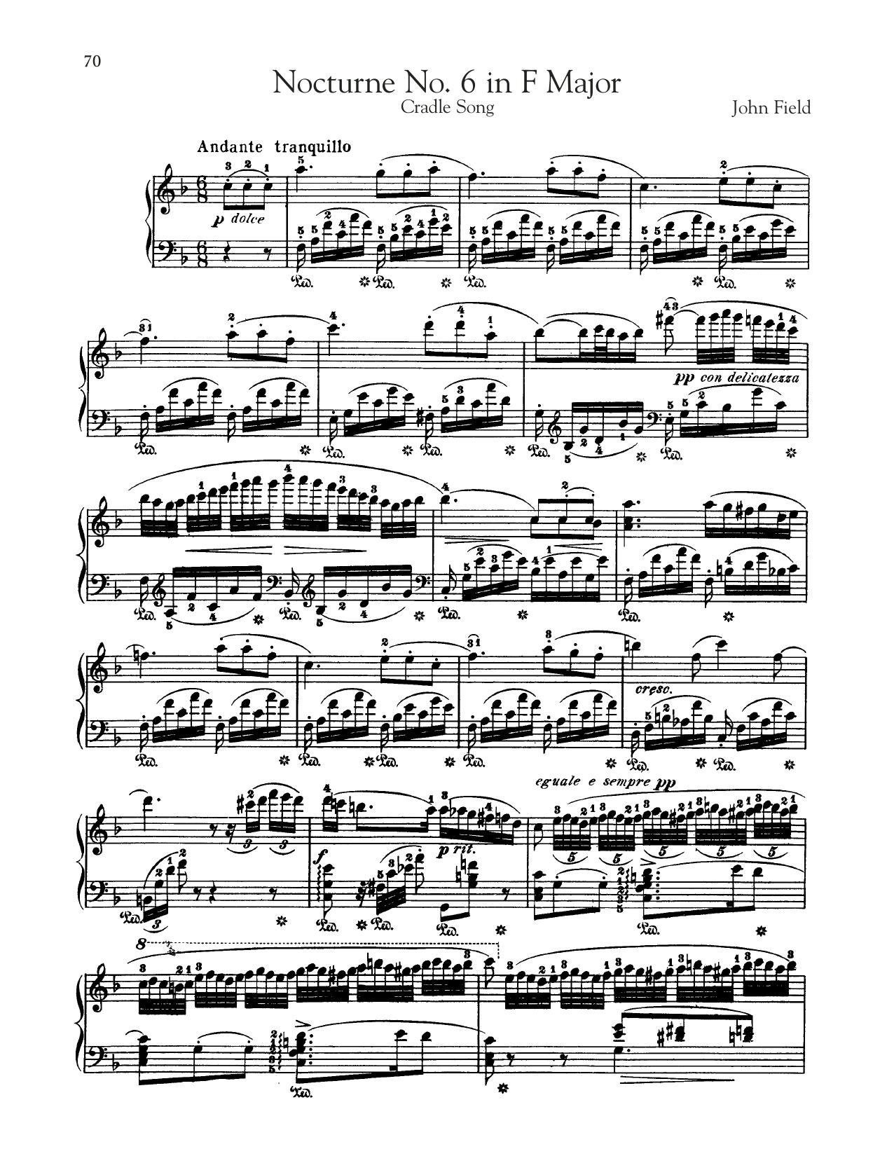 Nocturne No. 6 In F Major, H. 40 (Piano Solo)