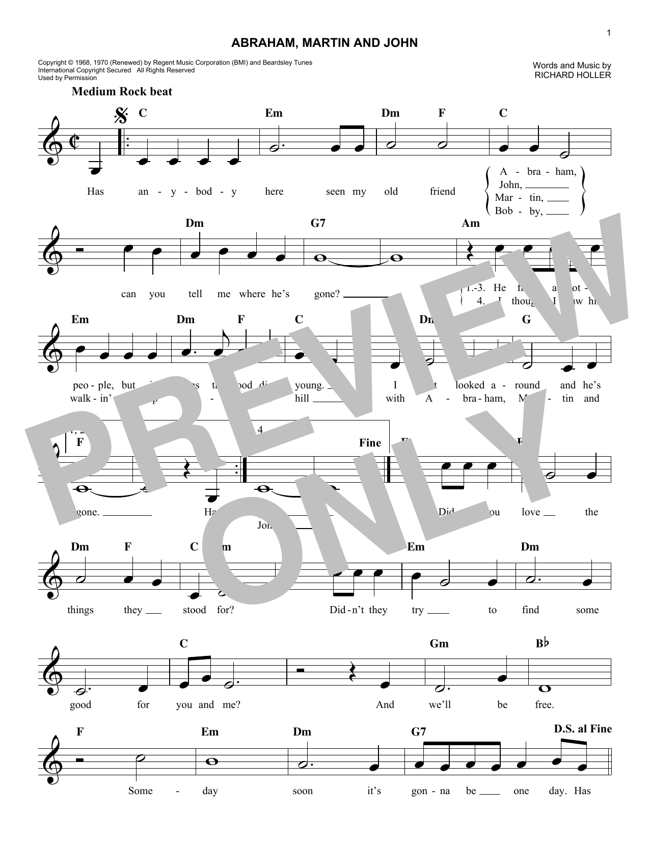 Abraham, Martin And John (Melody Line, Lyrics & Chords)