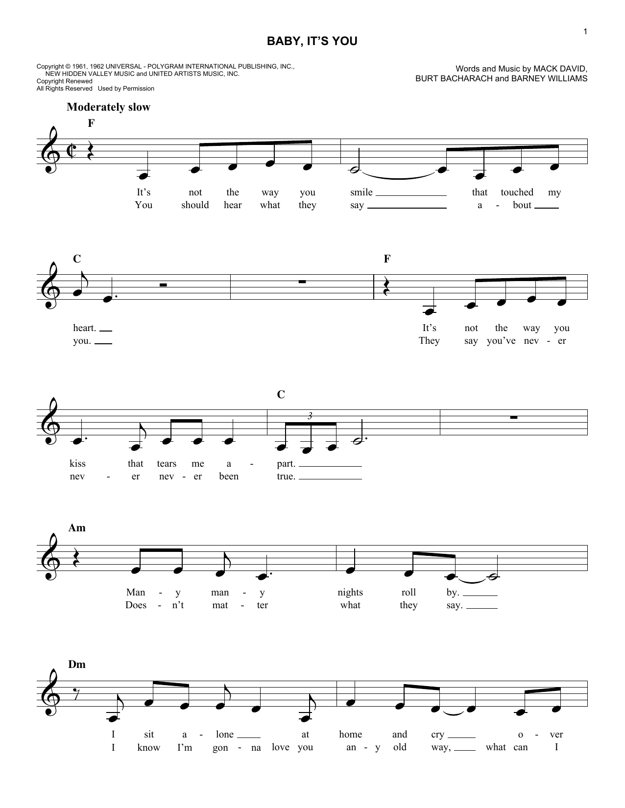 Baby, It's You (Lead Sheet / Fake Book)