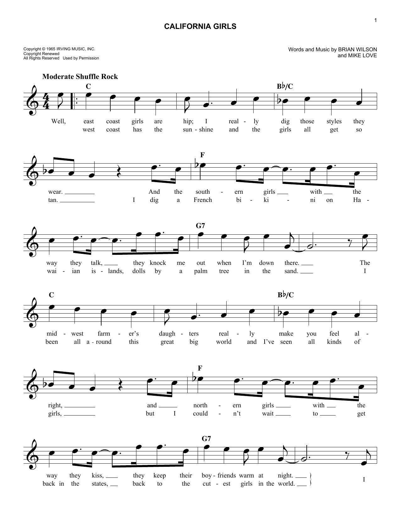 California Girls (Lead Sheet / Fake Book)