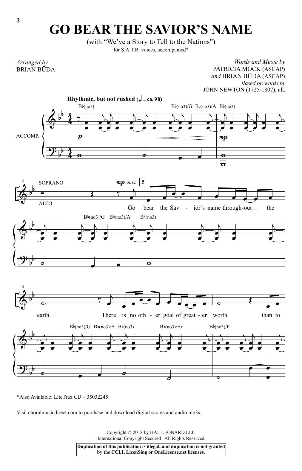 Go Bear The Savior's Name (With We've A Story To Tell) (arr. Brian Buda) (SATB Choir)