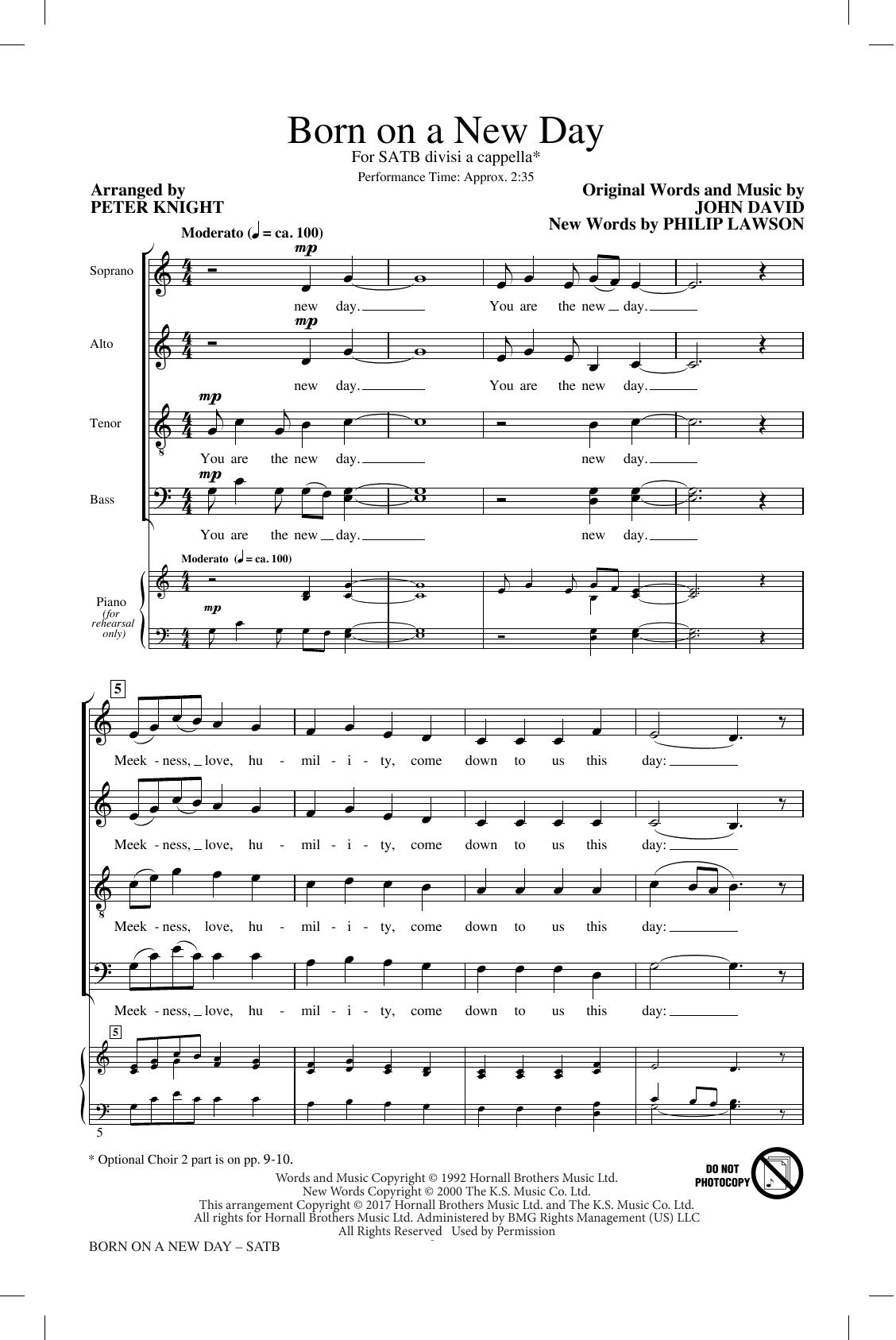 Born On A New Day (arr. Peter Knight) (SATB Choir)