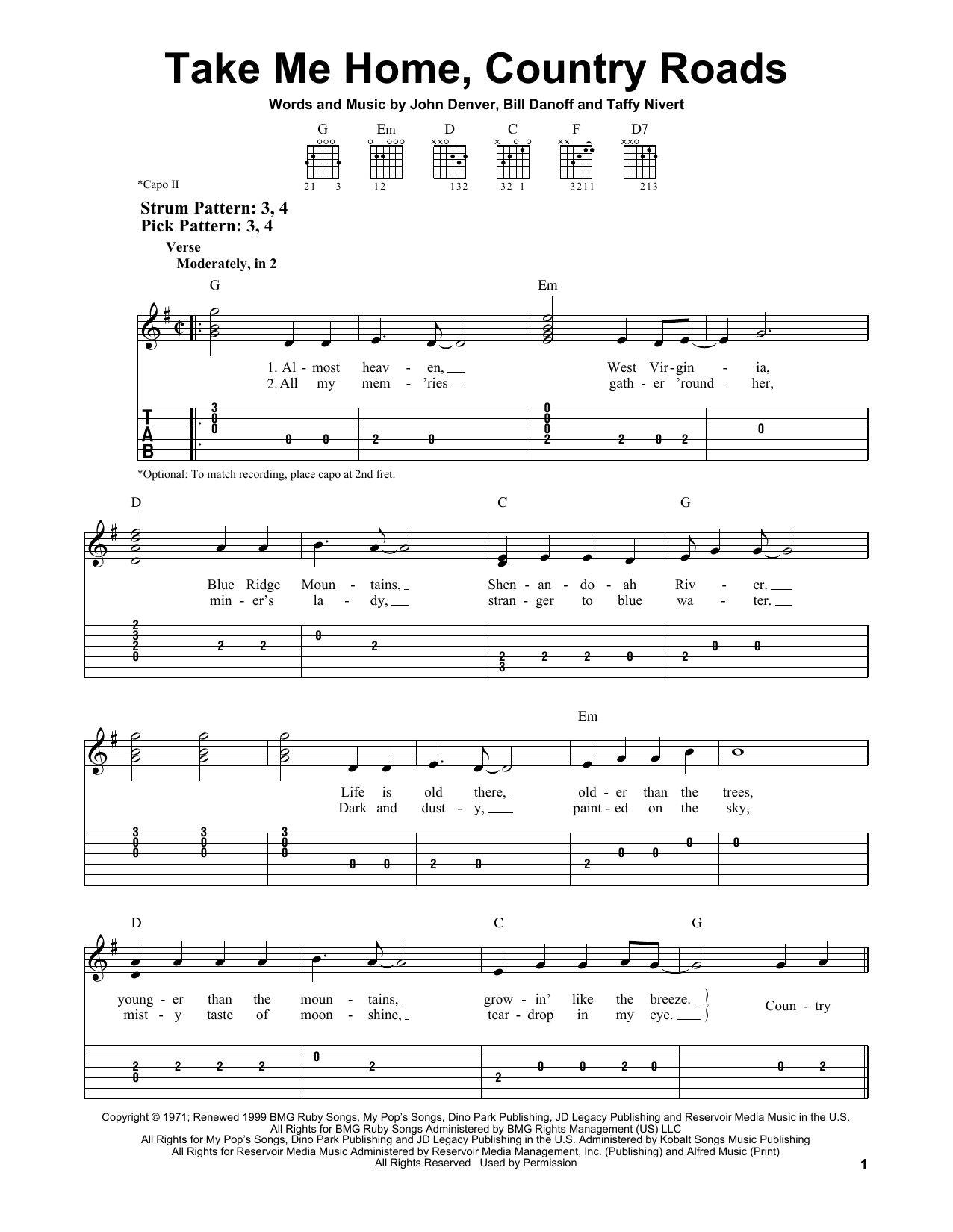 Take Me Home, Country Roads (Easy Guitar Tab)
