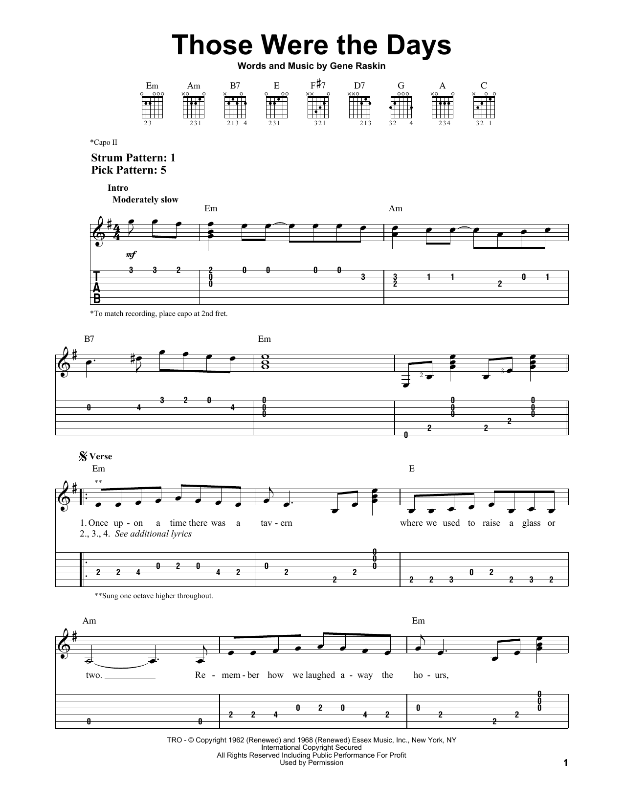 Those Were The Days (Easy Guitar Tab)