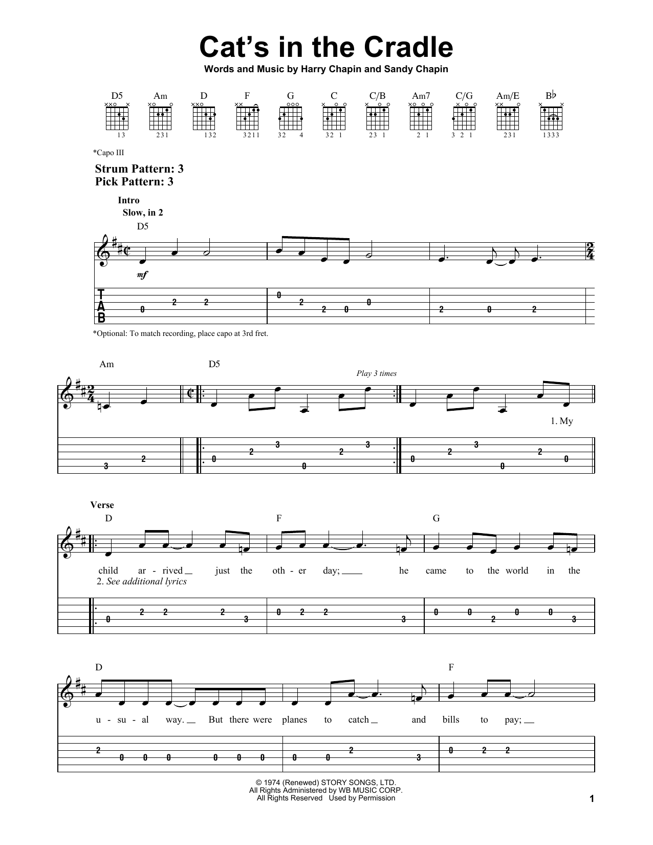 Cat's In The Cradle Noten   Harry Chapin   Leichte Tabulatur für Gitarre