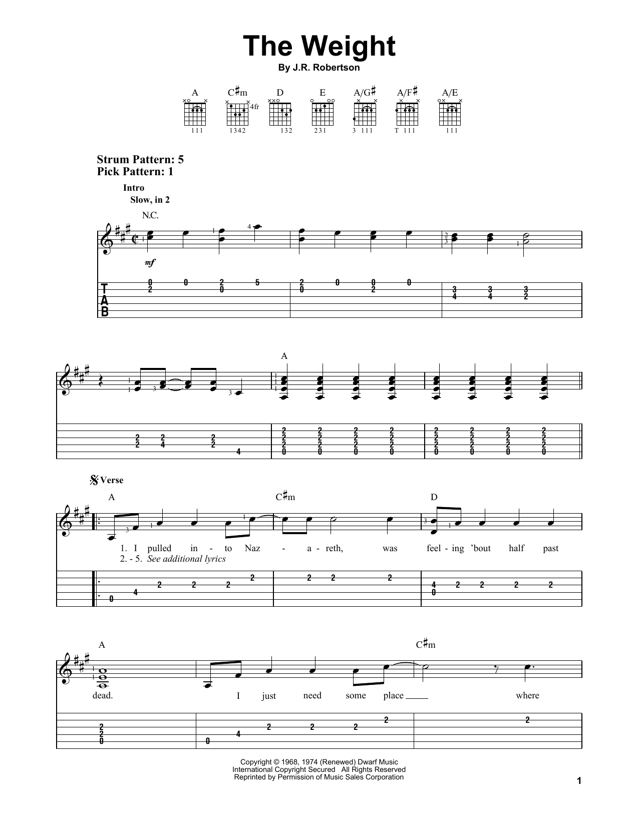 The Weight by The Band   Easy Guitar Tab   Guitar Instructor