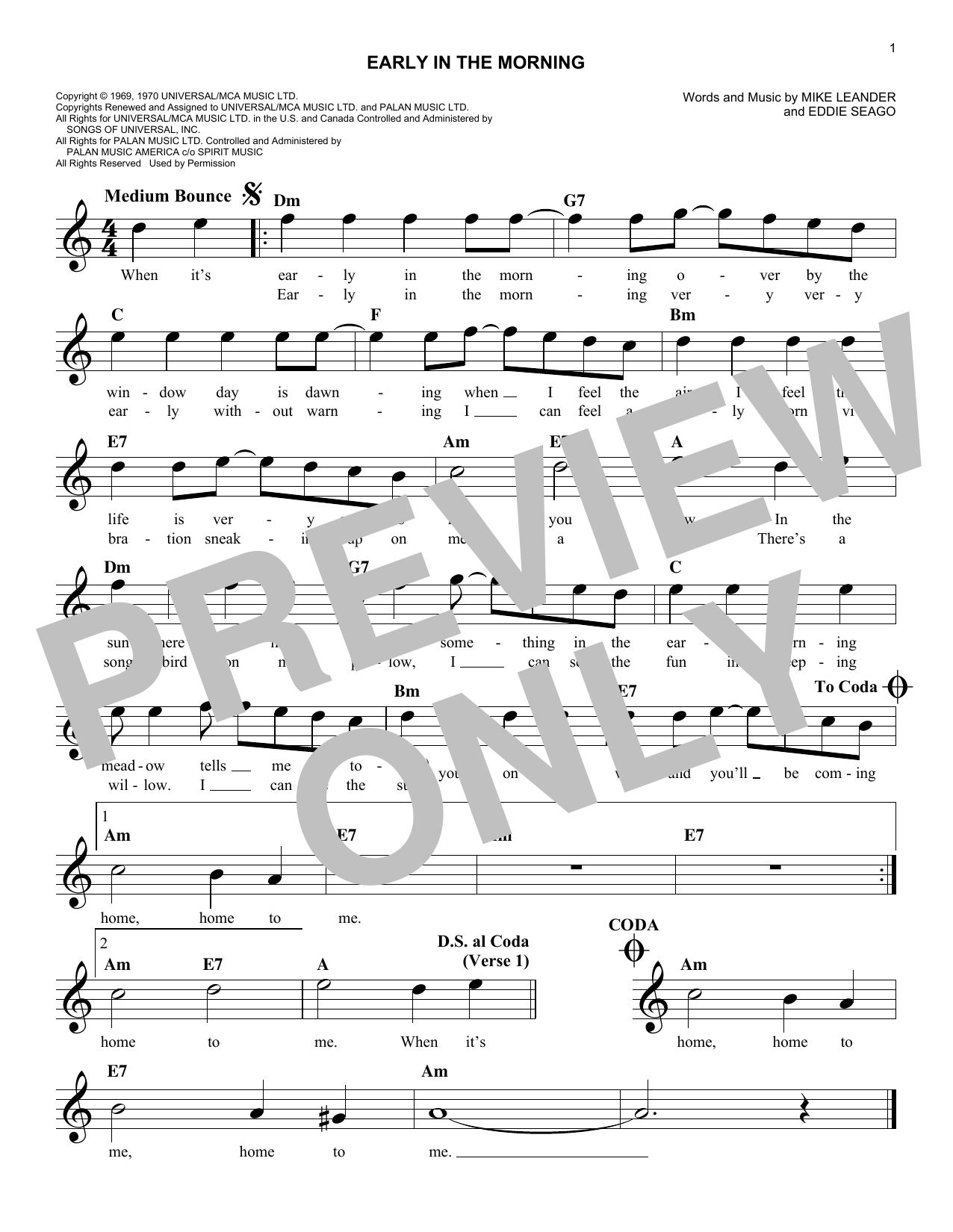 Early In The Morning (Lead Sheet / Fake Book)