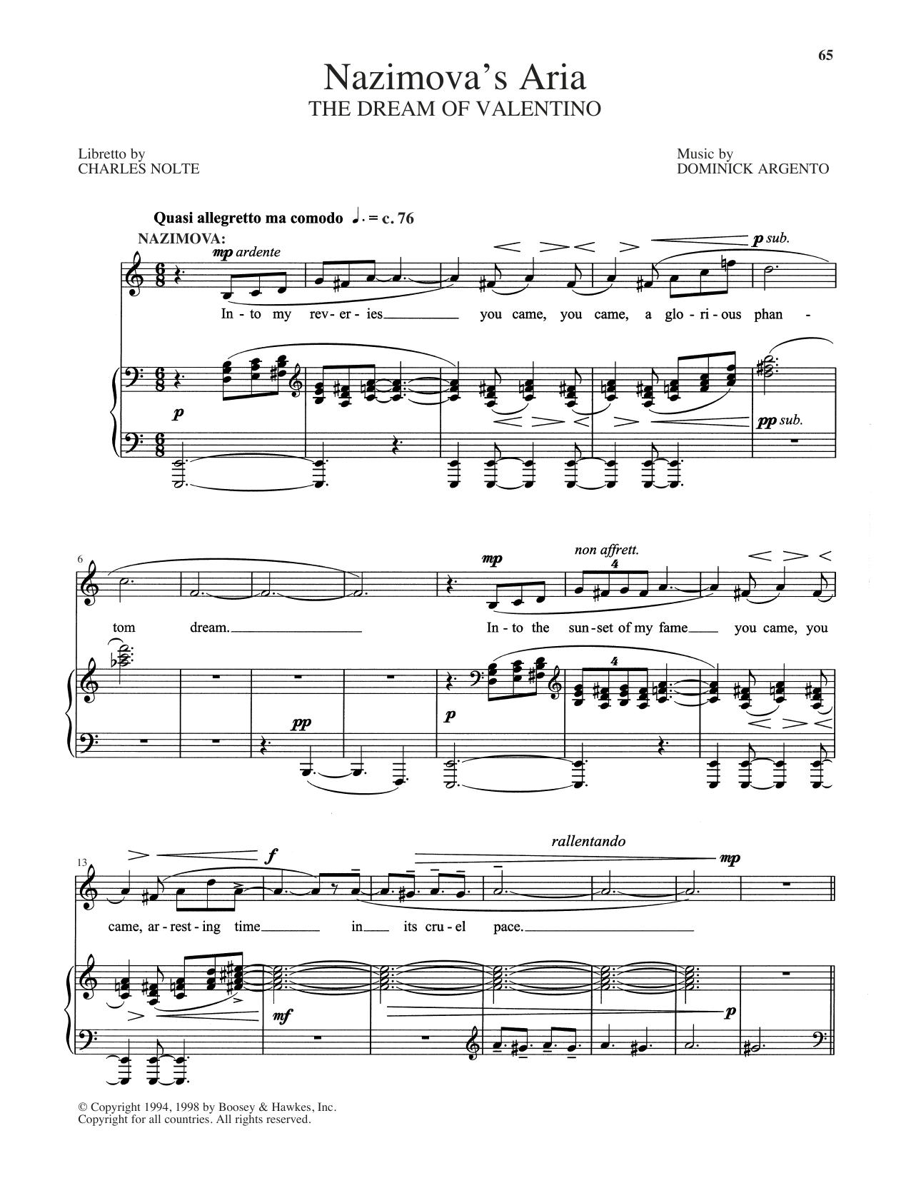Nazimova's Aria (Piano & Vocal)