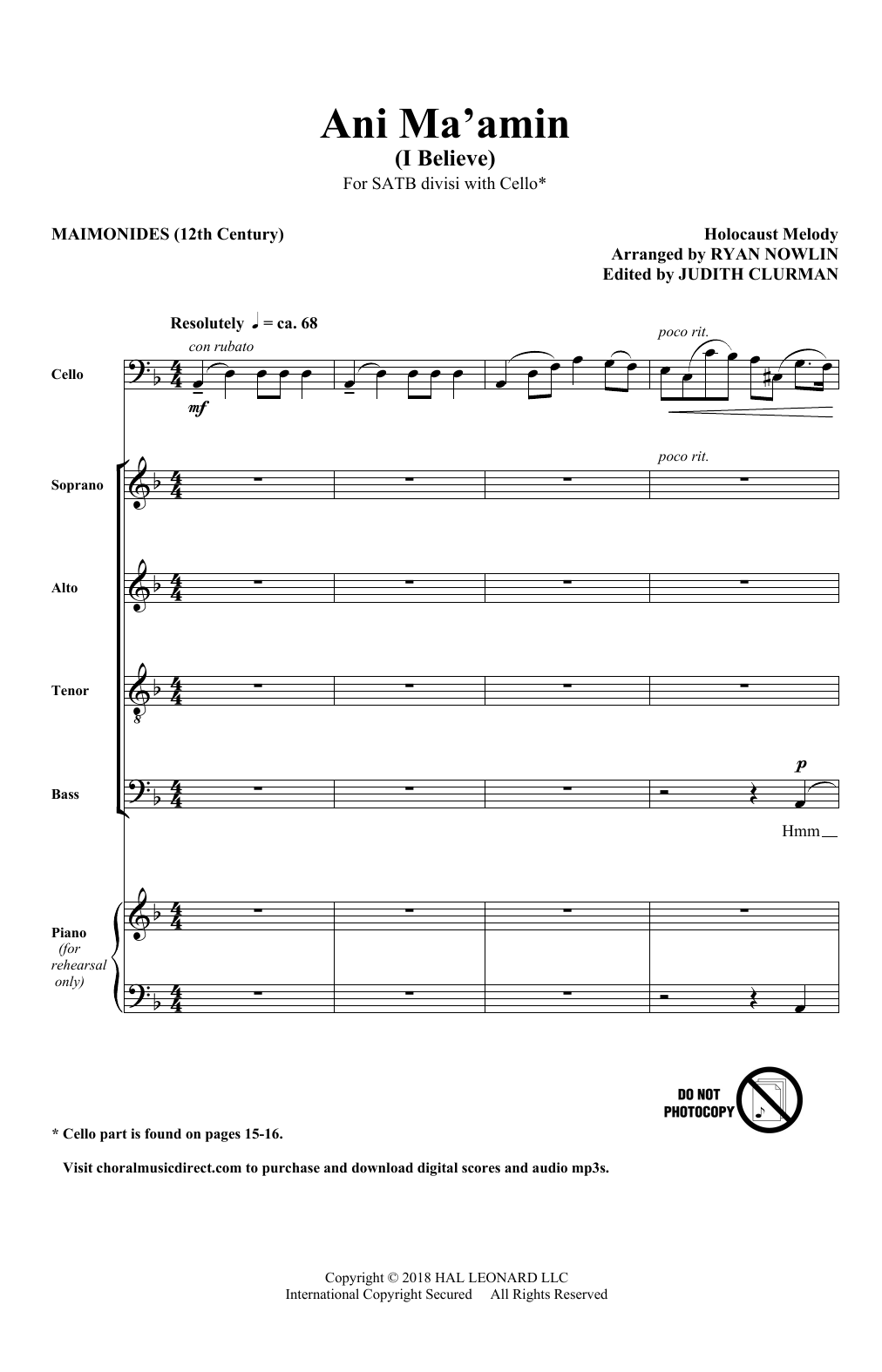 Ani Ma'Amin (SATB Choir)