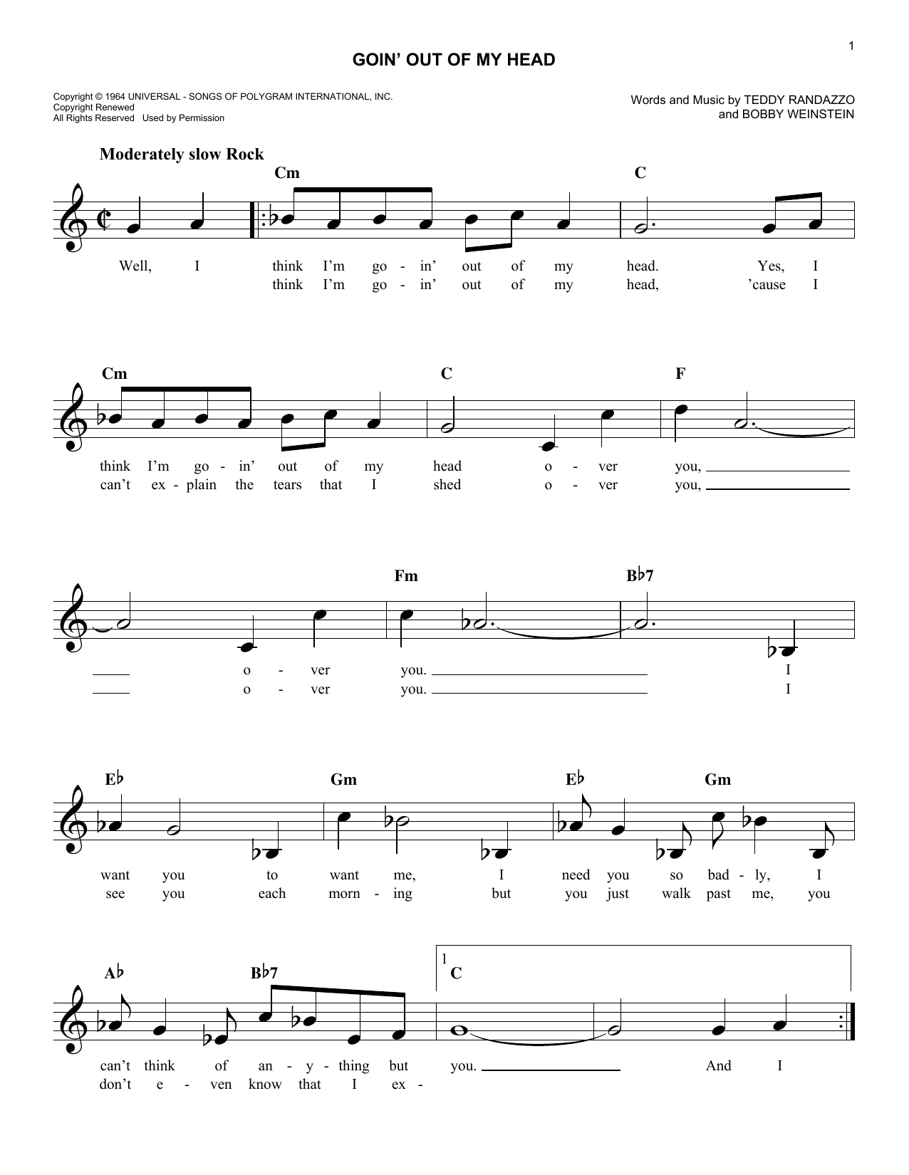 Goin' Out Of My Head (Lead Sheet / Fake Book)