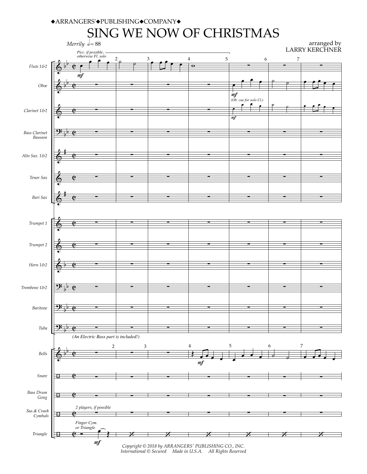 Sing We Now Of Christmas.Sing We Now Of Christmas Arr Larry Kerchner Band Music