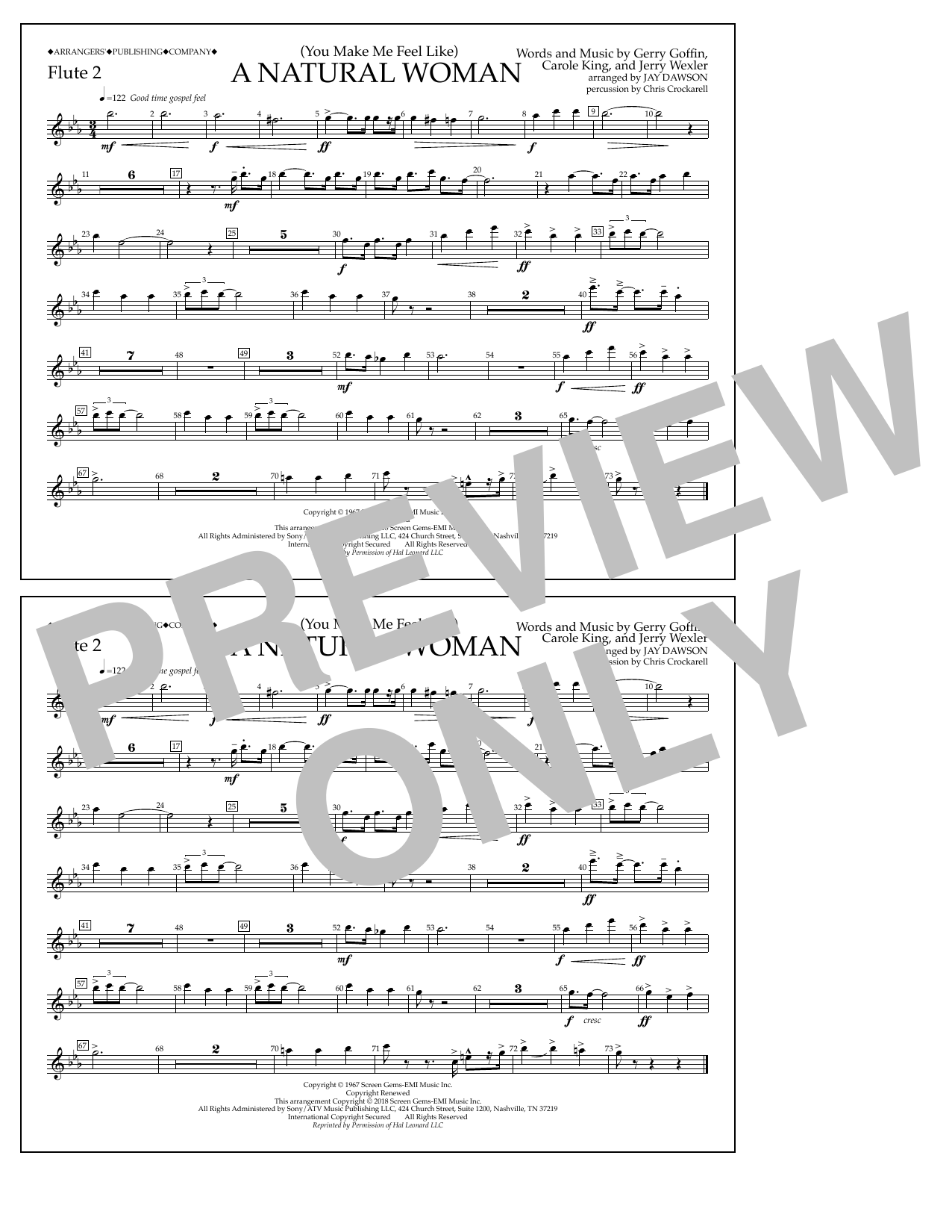 (You Make Me Feel Like) A Natural Woman (arr. Jay Dawson) - Flute 2 (Marching Band)