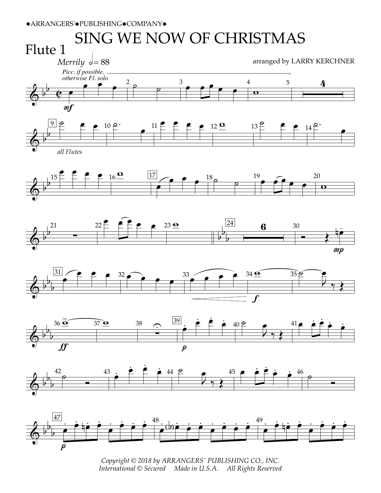 Sing We Now Of Christmas.Sing We Now Of Christmas Arr Larry Kerchner Flute 1 By Traditional French Carol Concert Band Digital Sheet Music