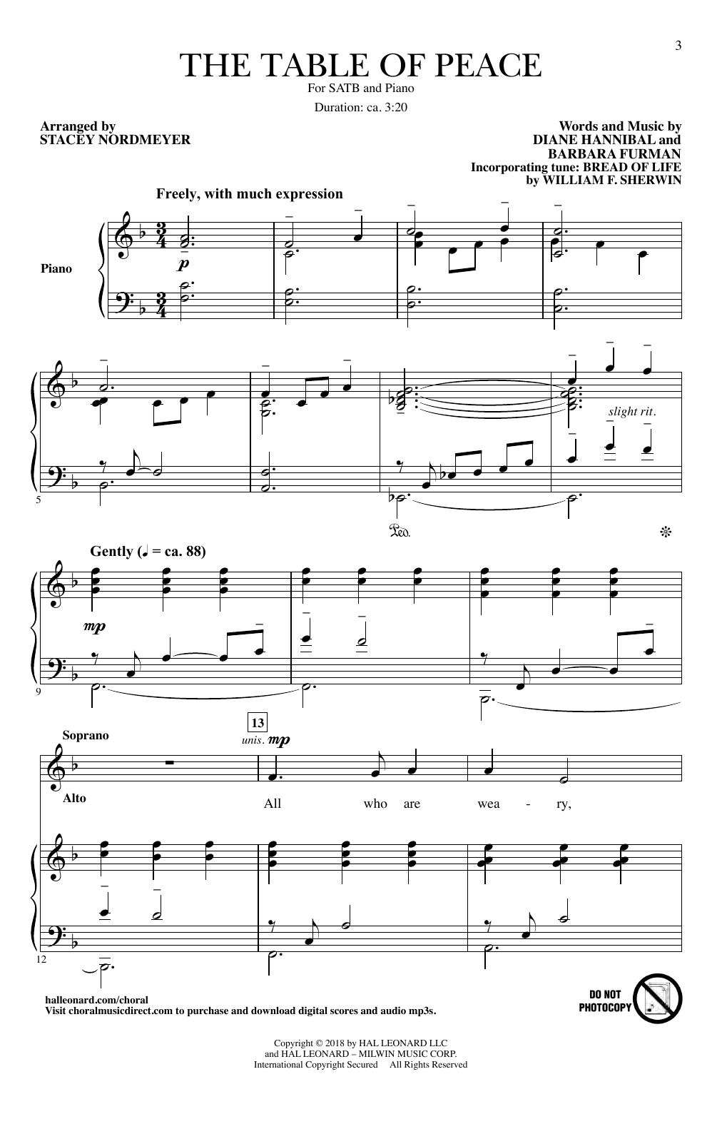 The Table Of Peace (arr. Stacey Nordmeyer) (SATB Choir)