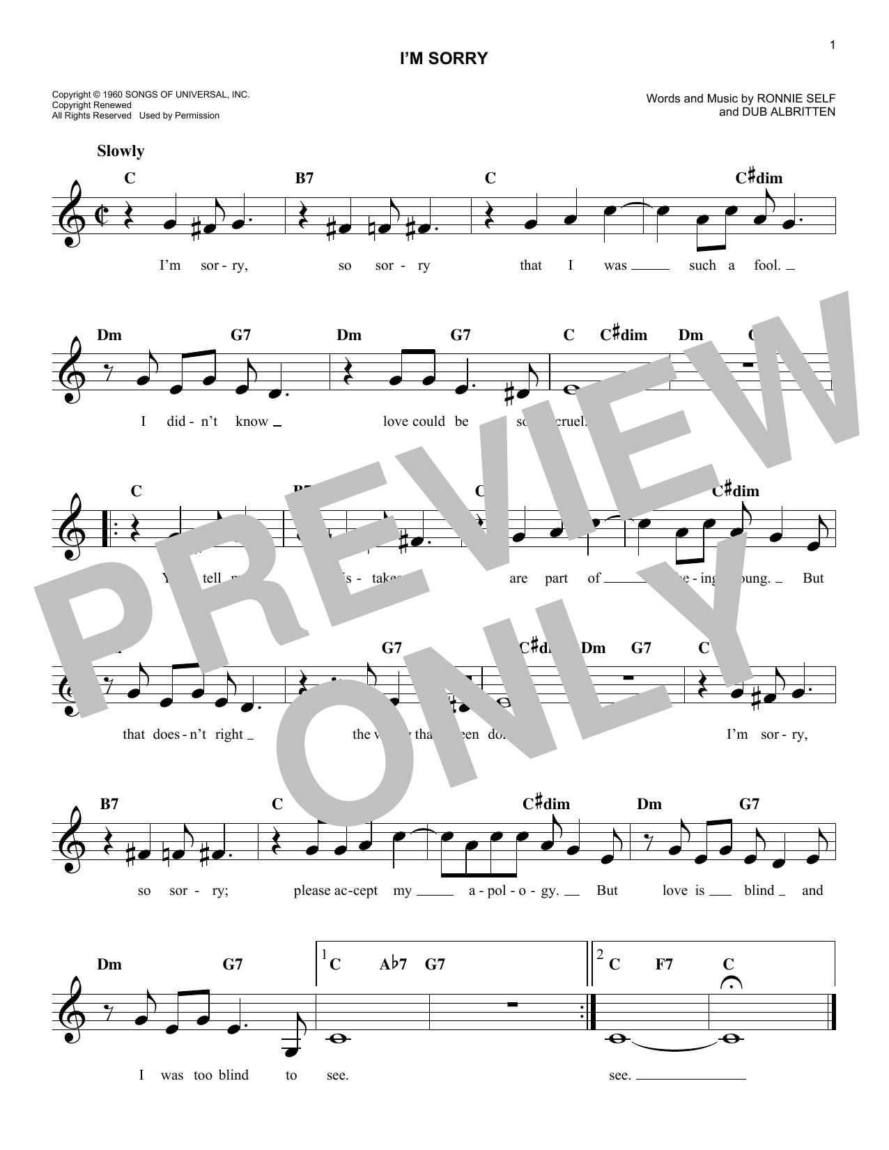 I'm Sorry (Lead Sheet / Fake Book)