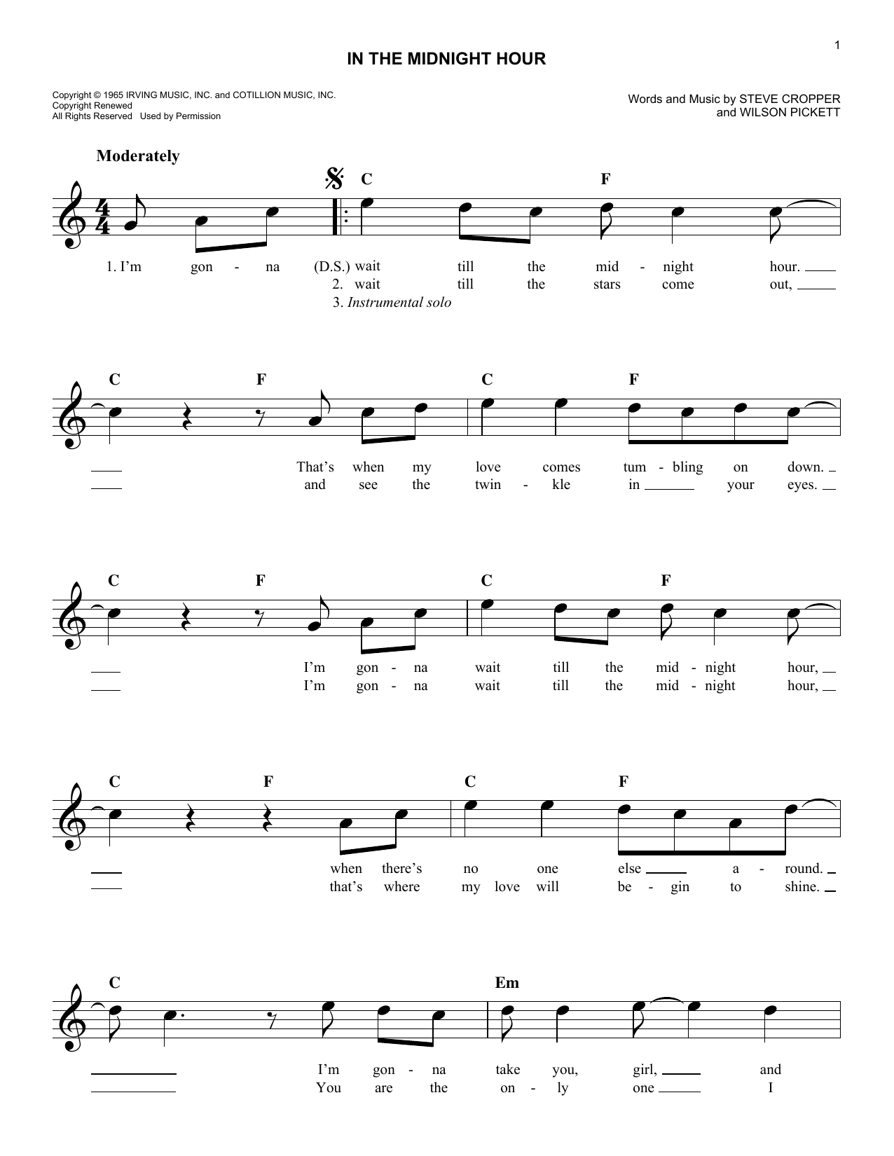 In The Midnight Hour Sheet Music