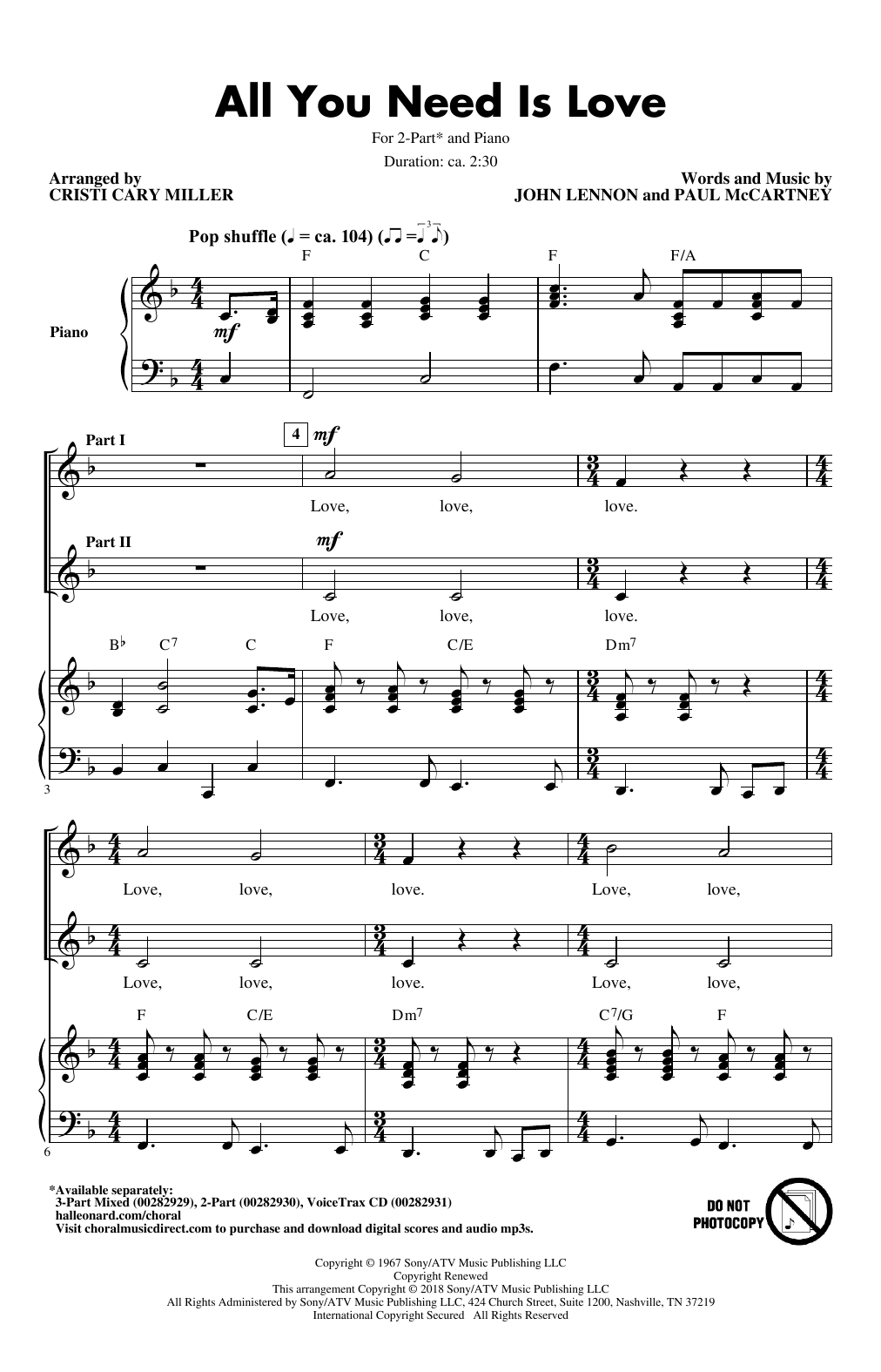 All You Need Is Love (arr  Cristi Cari Miller) by The Beatles 3-Part Mixed  Choir Digital Sheet Music