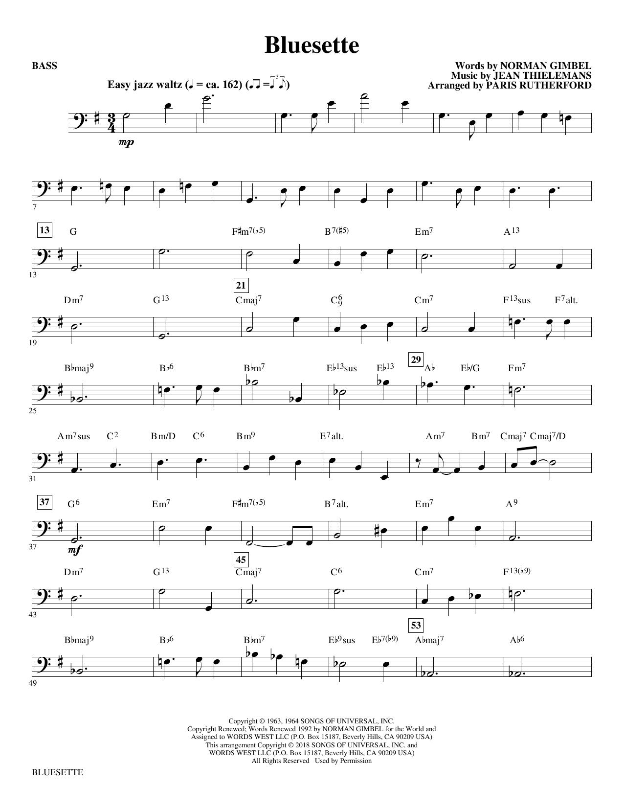 Bluesette (arr. Paris Rutherford) - Bass (Choir Instrumental Pak)