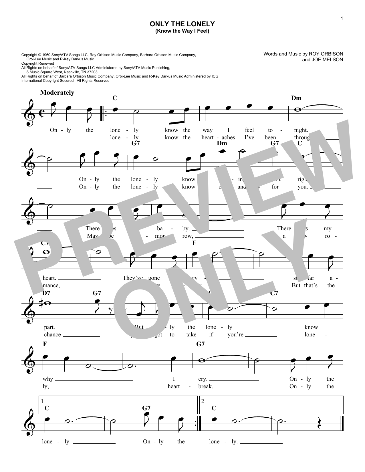 Only The Lonely (Know The Way I Feel) (Lead Sheet / Fake Book)