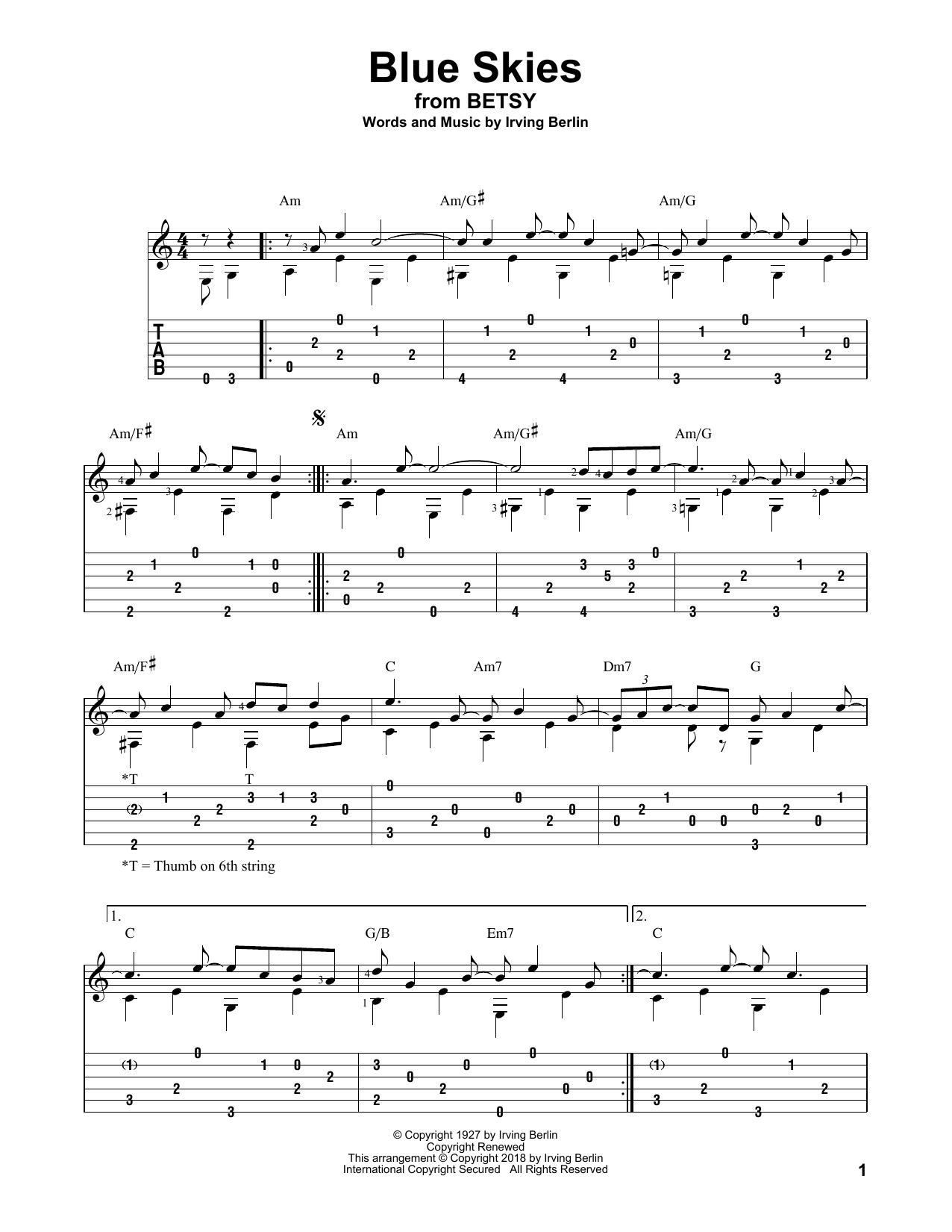 Blue Skies (Solo Guitar Tab)
