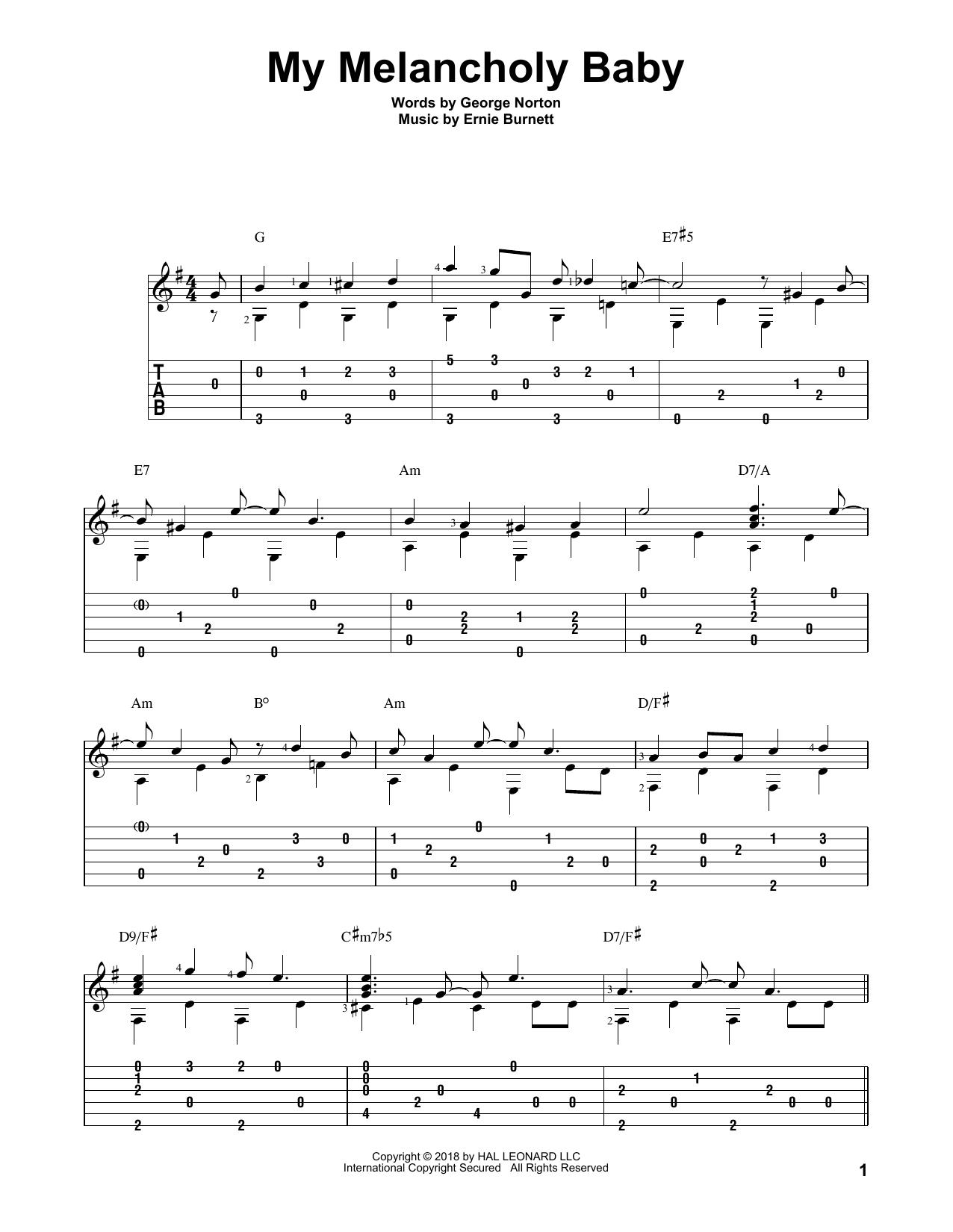 My Melancholy Baby (Solo Guitar Tab)