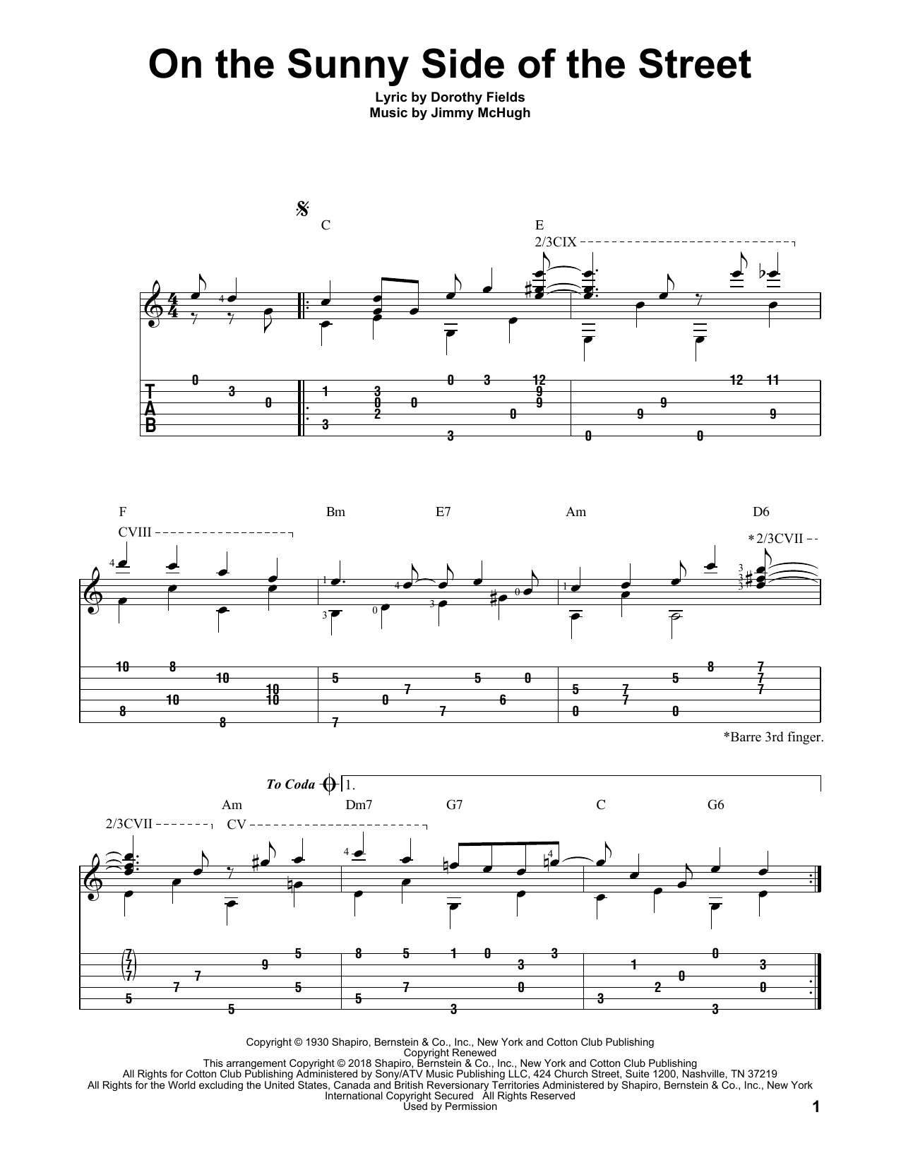 On The Sunny Side Of The Street (Solo Guitar Tab)