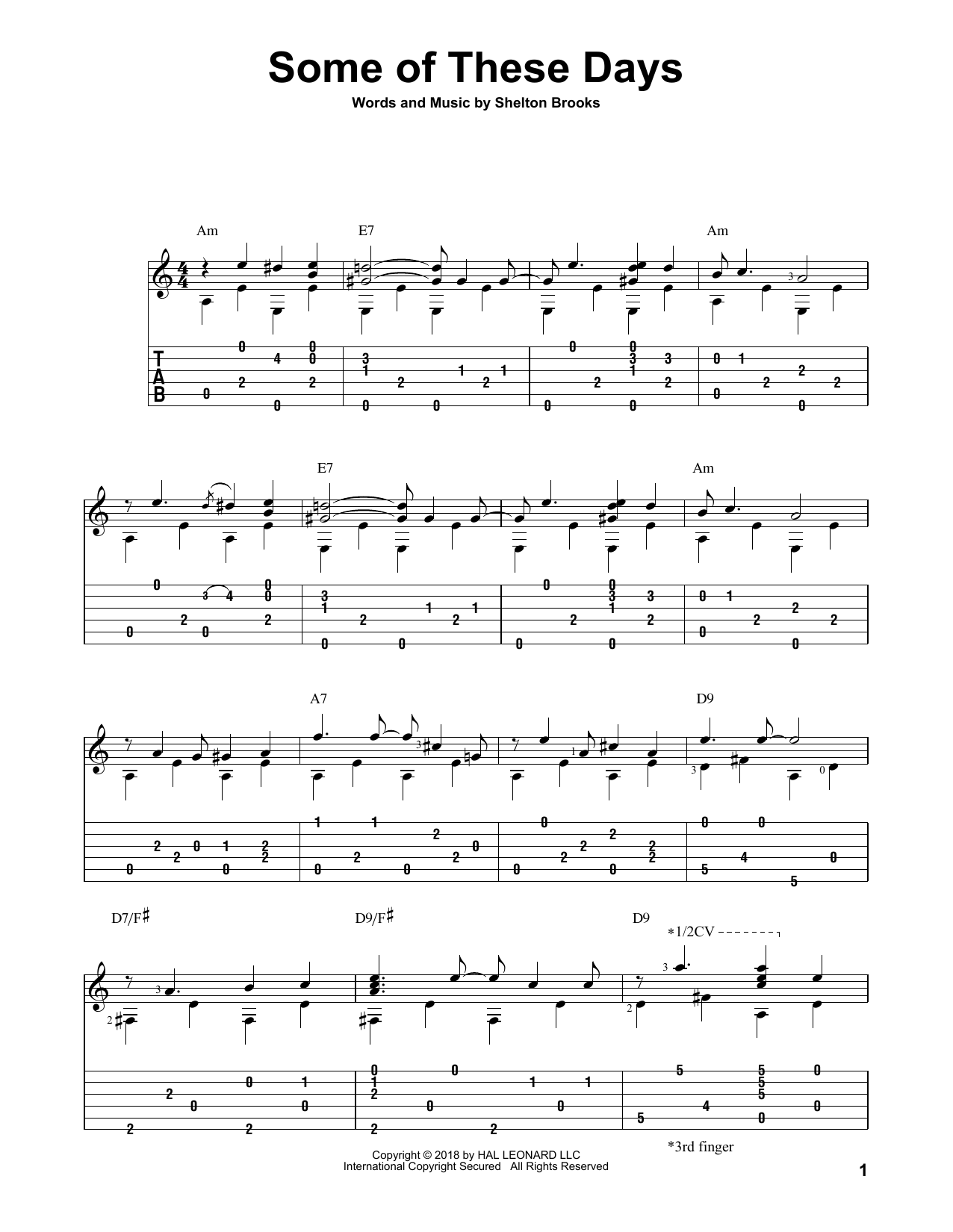 Some Of These Days (Solo Guitar Tab)