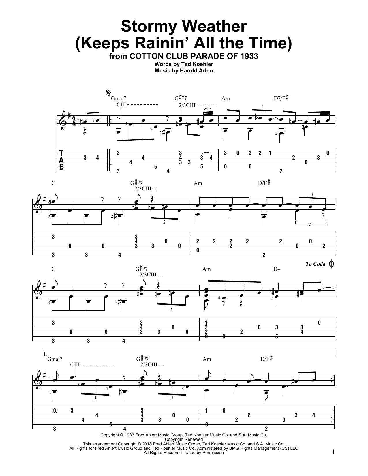 Stormy Weather (Keeps Rainin' All The Time) (Solo Guitar Tab)