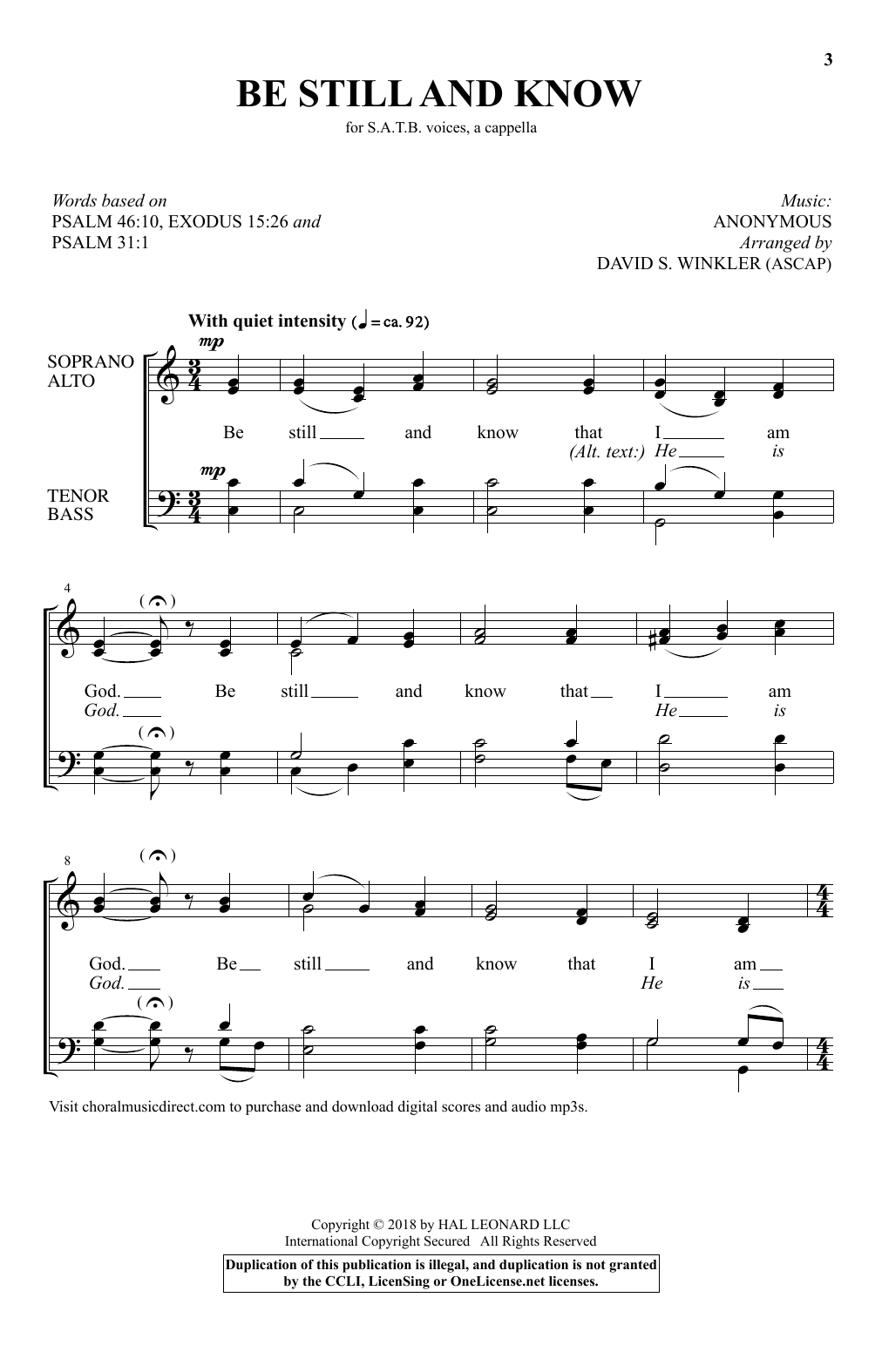 Partition chorale Almost A Cappella de David S. Winkler - SATB