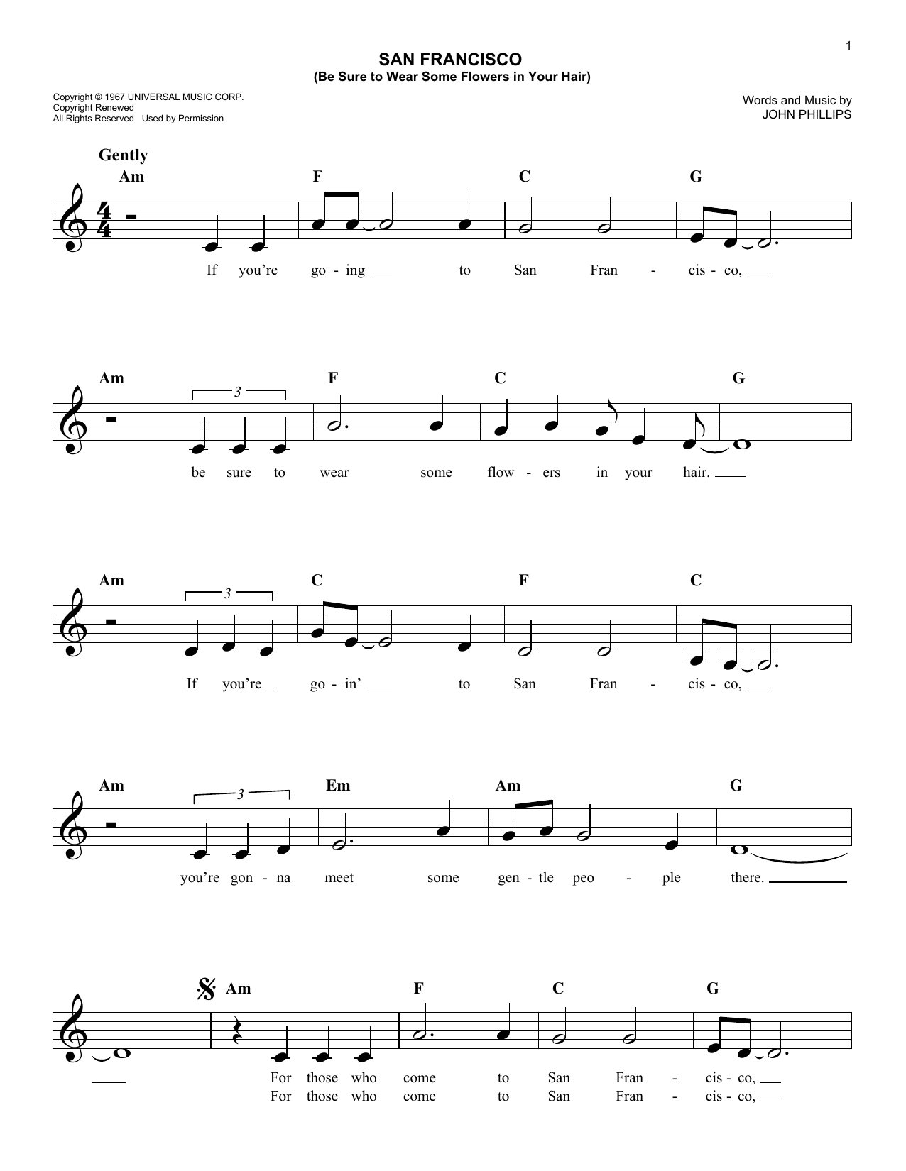 San Francisco (Be Sure To Wear Some Flowers In Your Hair) Sheet Music
