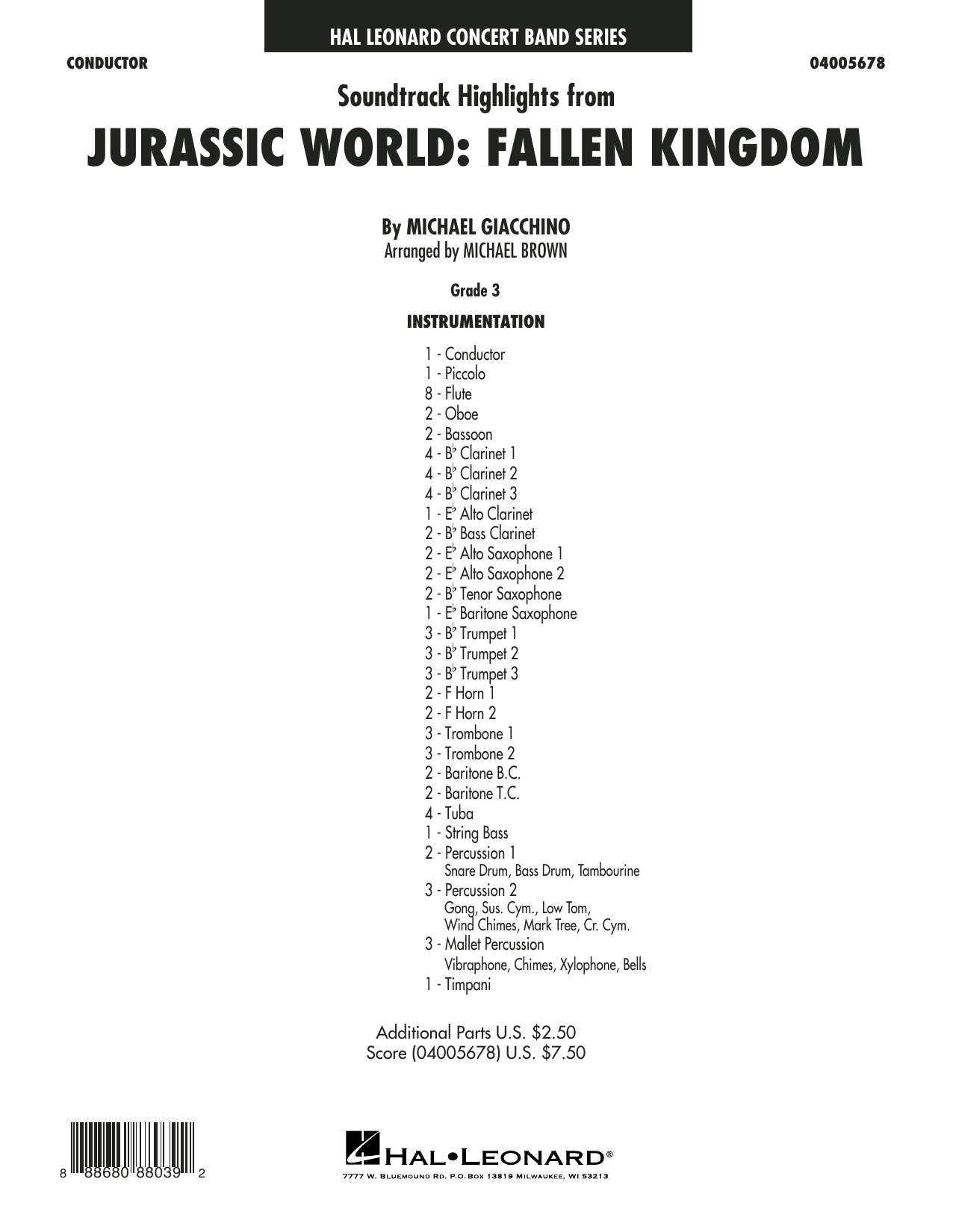 Highlights from Jurassic World: Fallen Kingdom (arr. Michael Brown) - Conductor Score (Full Score) (Concert Band)