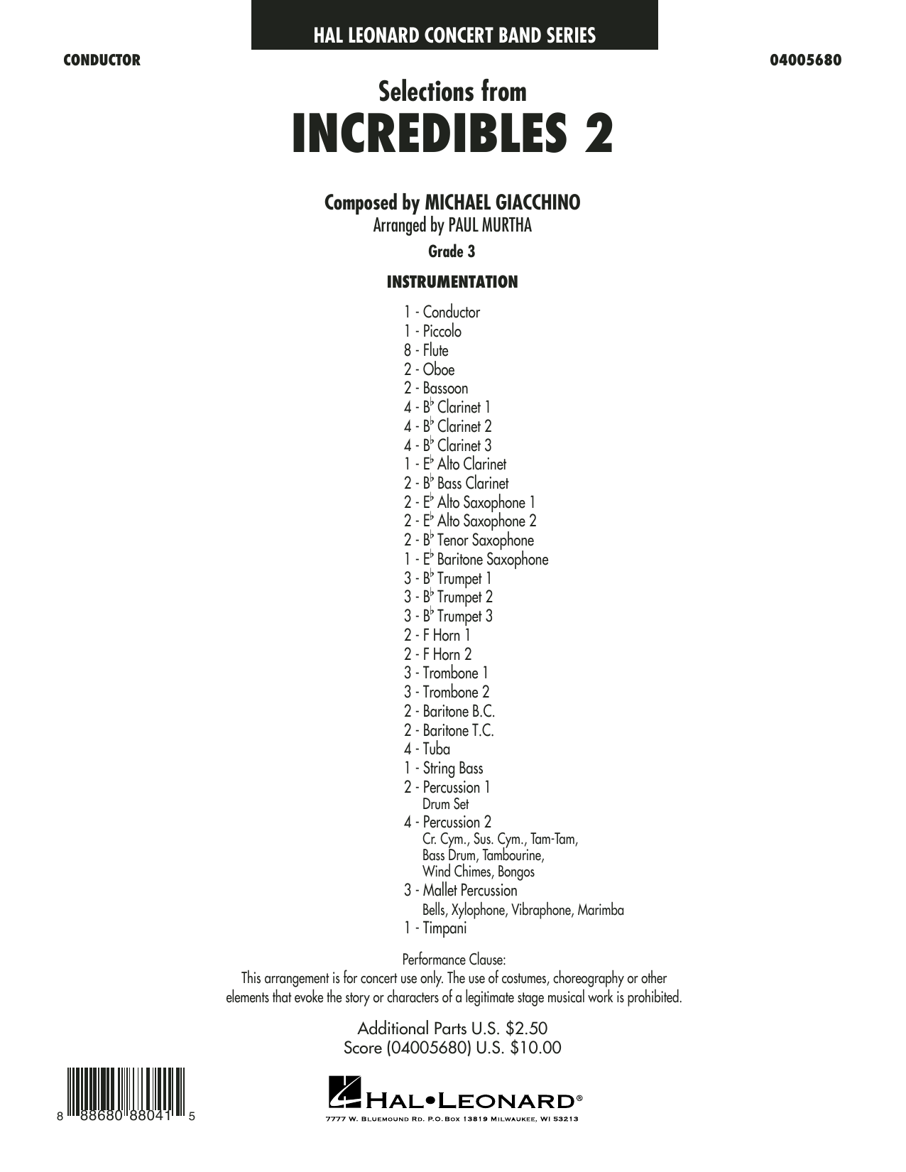 Selections from Incredibles 2 (arr. Paul Murtha) - Conductor Score (Full Score) (Concert Band)