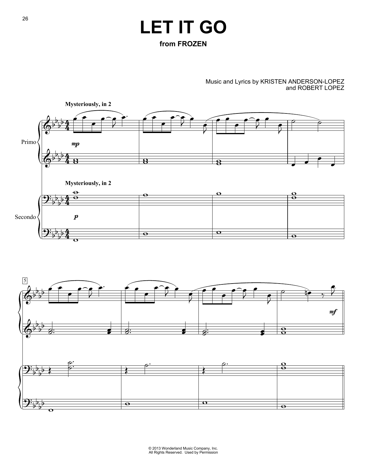Let It Go (from Frozen) (Piano Duet)