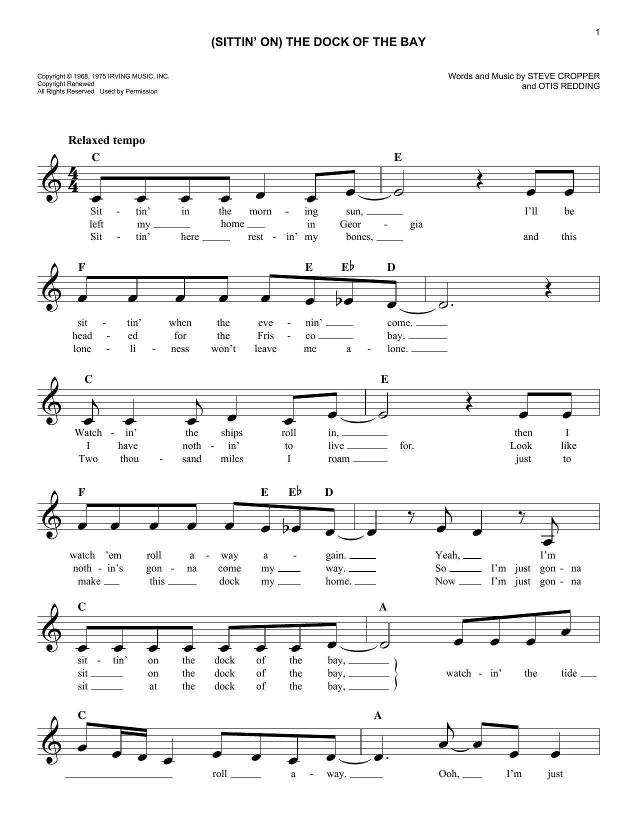 (Sittin' On) The Dock Of The Bay (Lead Sheet / Fake Book)