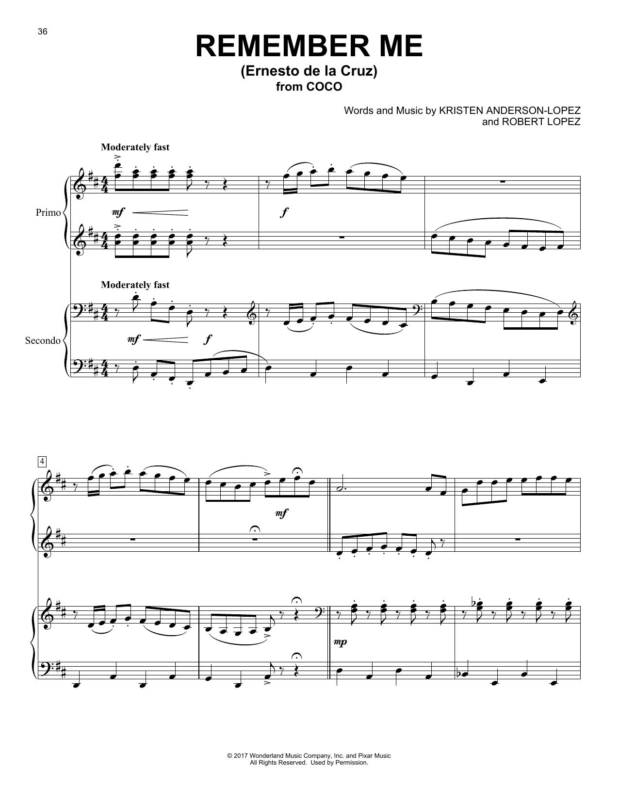 Remember Me (Ernesto de la Cruz) (from Coco) (Piano Duet)