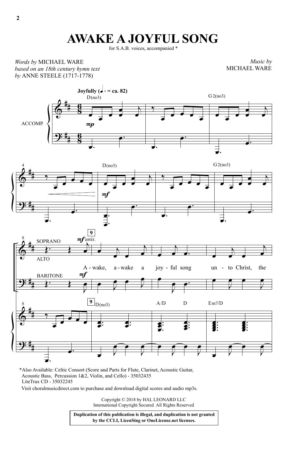 Awake A Joyful Song (SAB Choir)