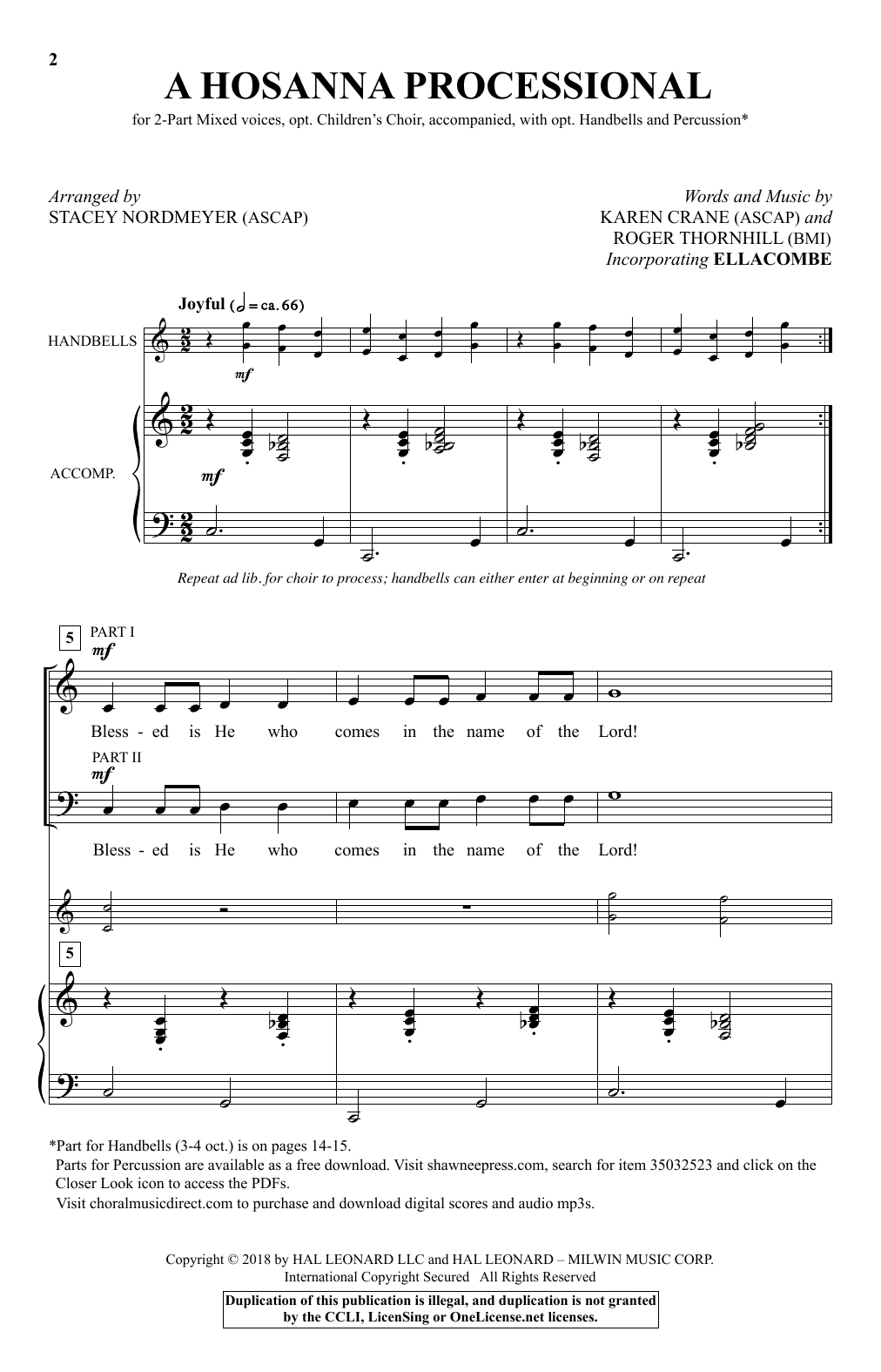 A Hosanna Processional (arr. Stacey Nordmeyer) (2-Part Choir)