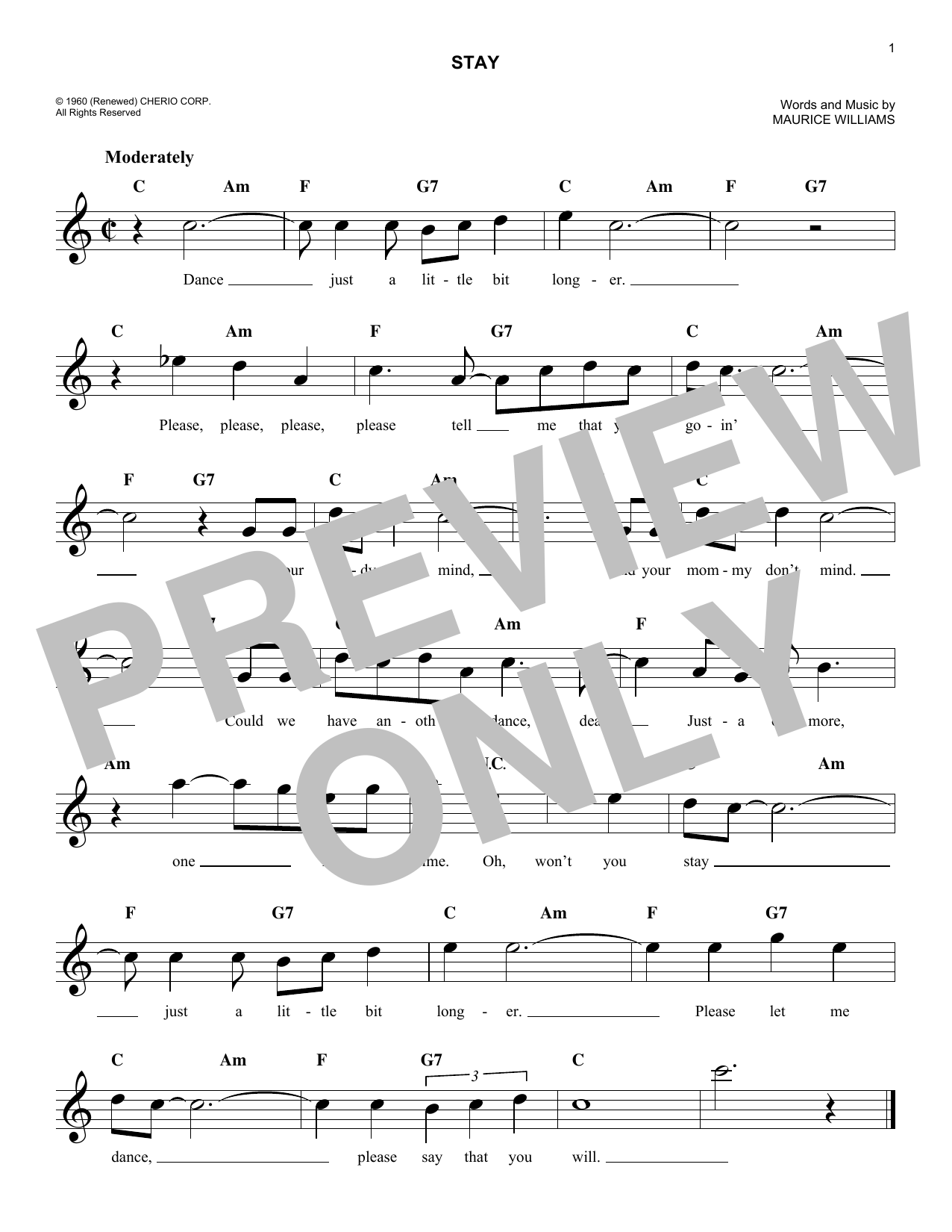 Stay (Lead Sheet / Fake Book)