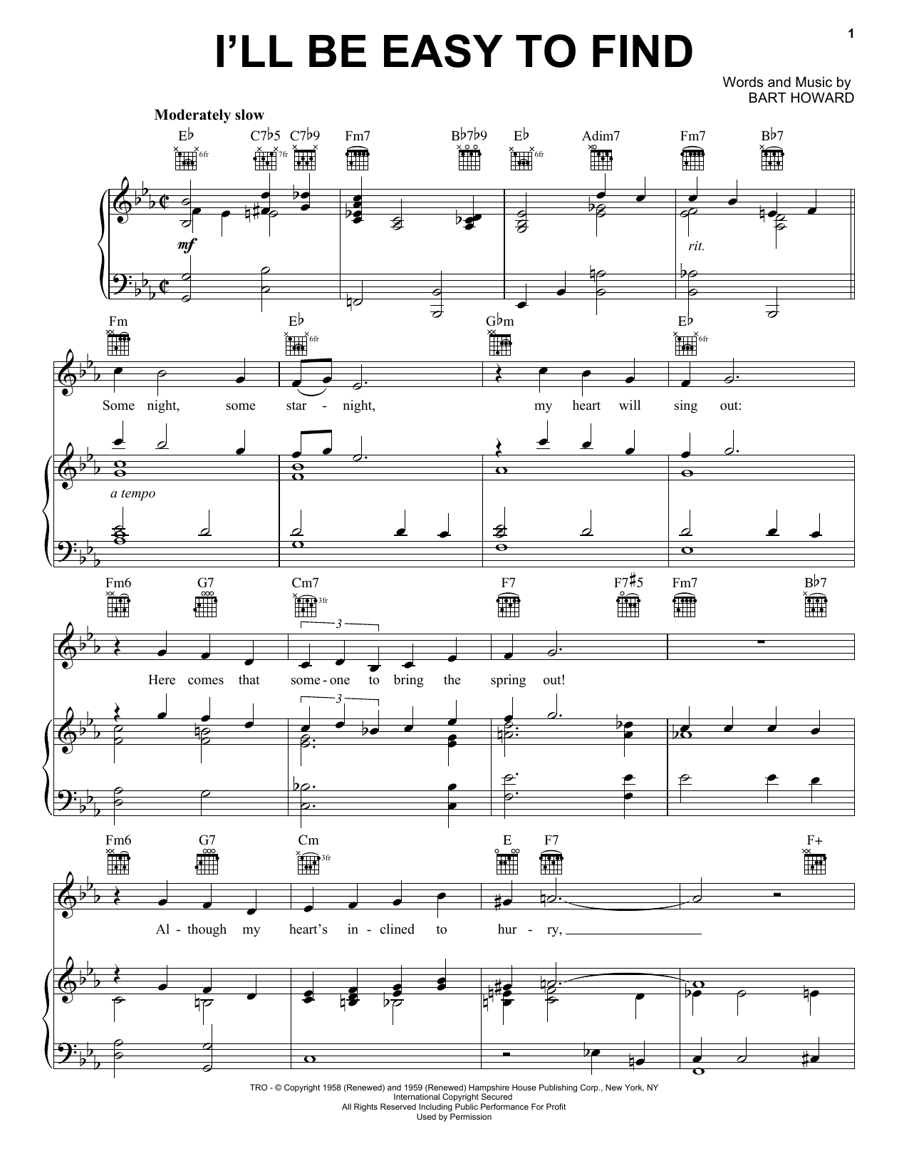 I'll Be Easy To Find (Piano, Vocal & Guitar (Right-Hand Melody))