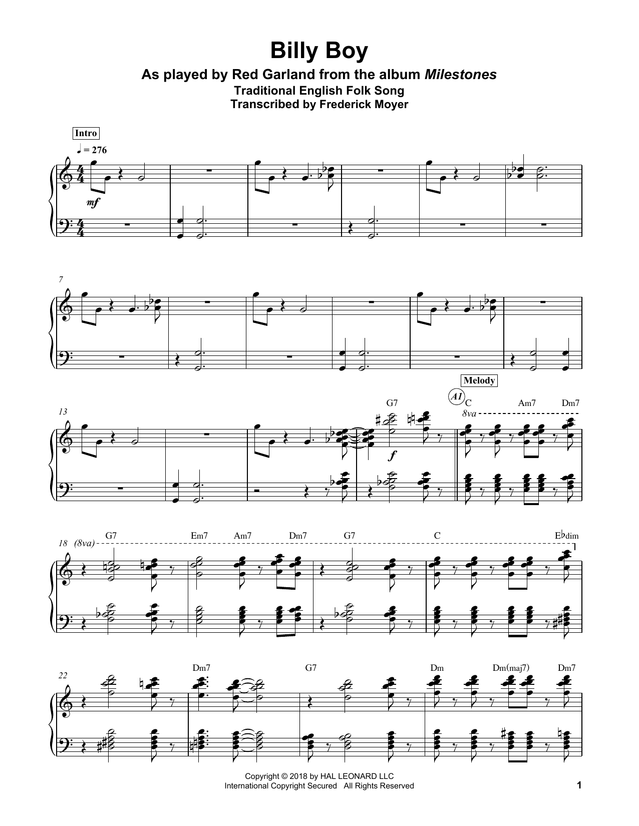 Billy Boy Sheet Music | Traditional | Piano Transcription