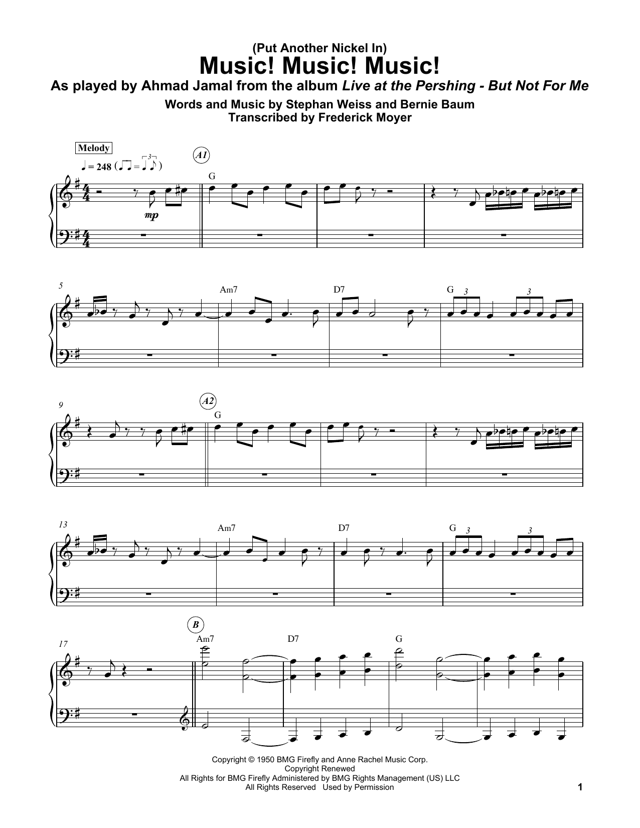 (Put Another Nickel In) Music! Music! Music! (Piano Transcription)