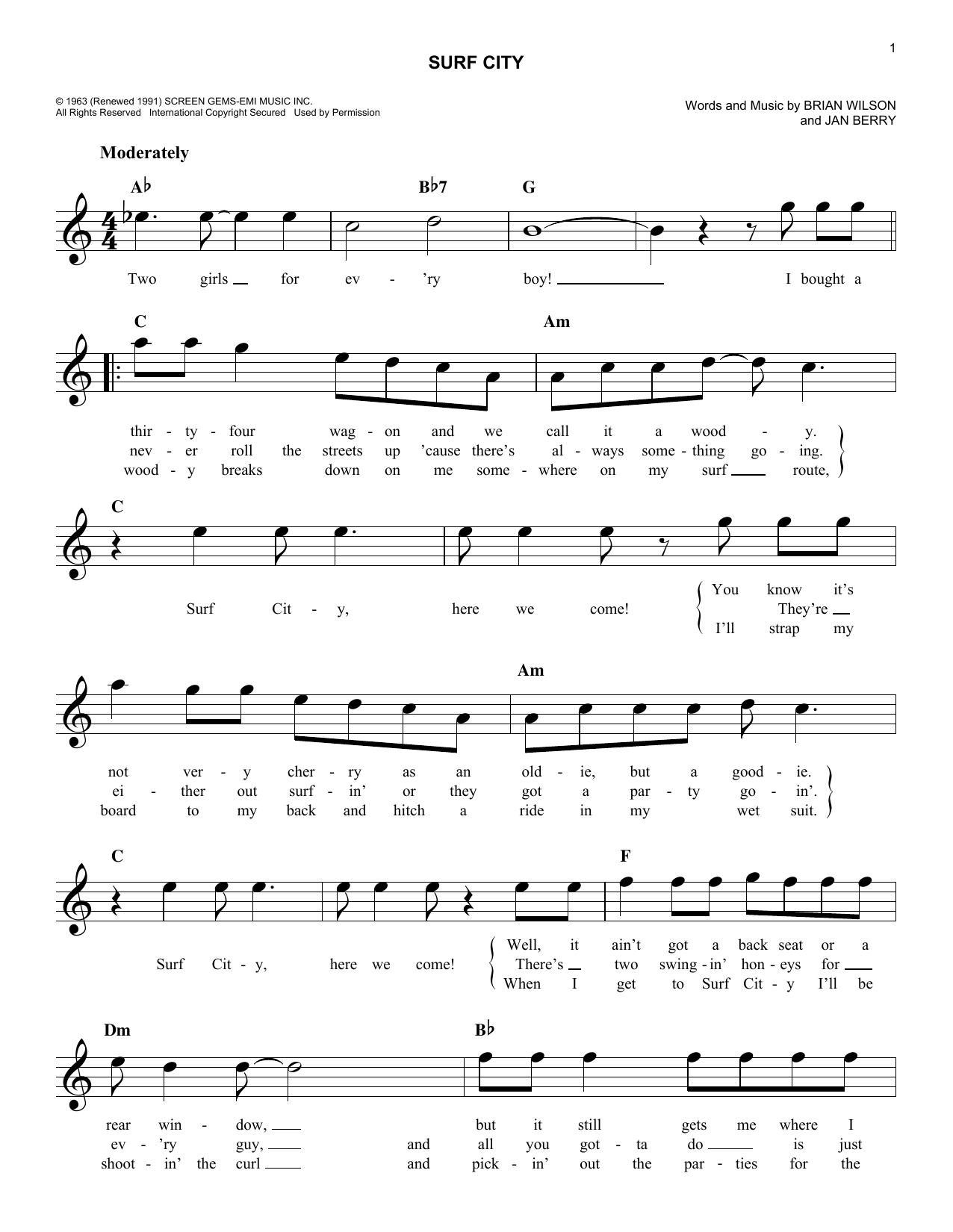 Surf City Sheet Music
