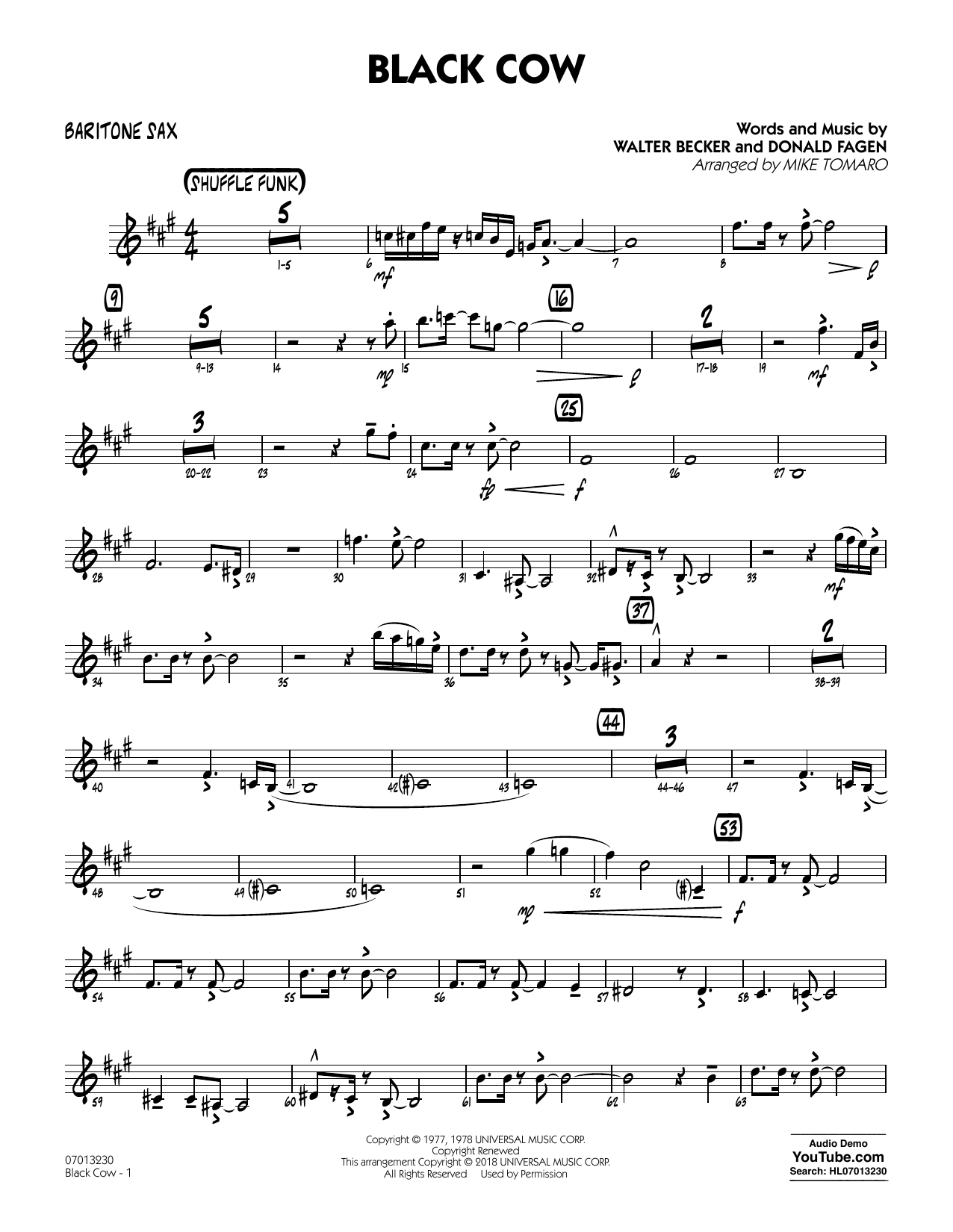 Black Cow (arr. Mike Tomaro) - Baritone Sax (Jazz Ensemble)