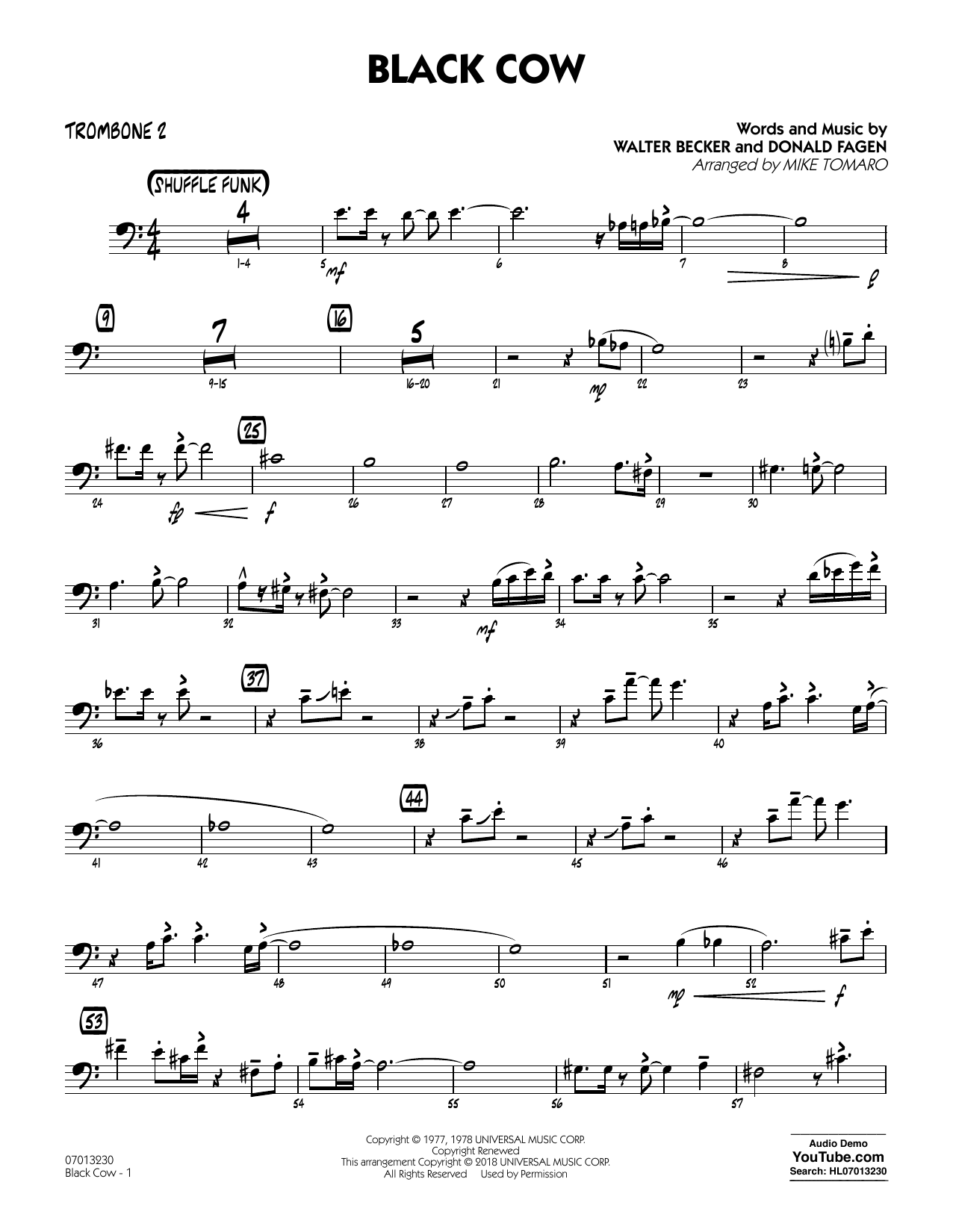 page one of Black Cow (arr. Mike Tomaro) - Trombone 2ASALTTEXT